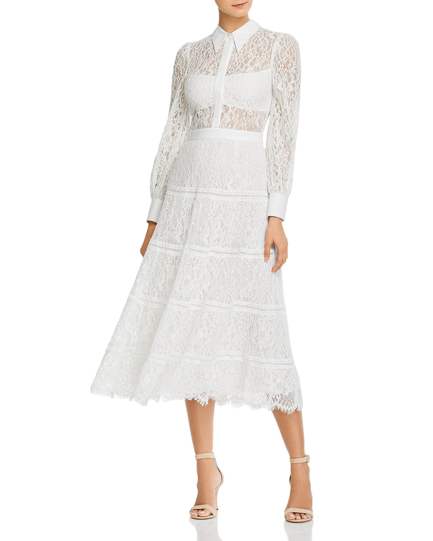 ALICE AND OLIVIA Anaya Tiered Midi Lace Sheath Dress
