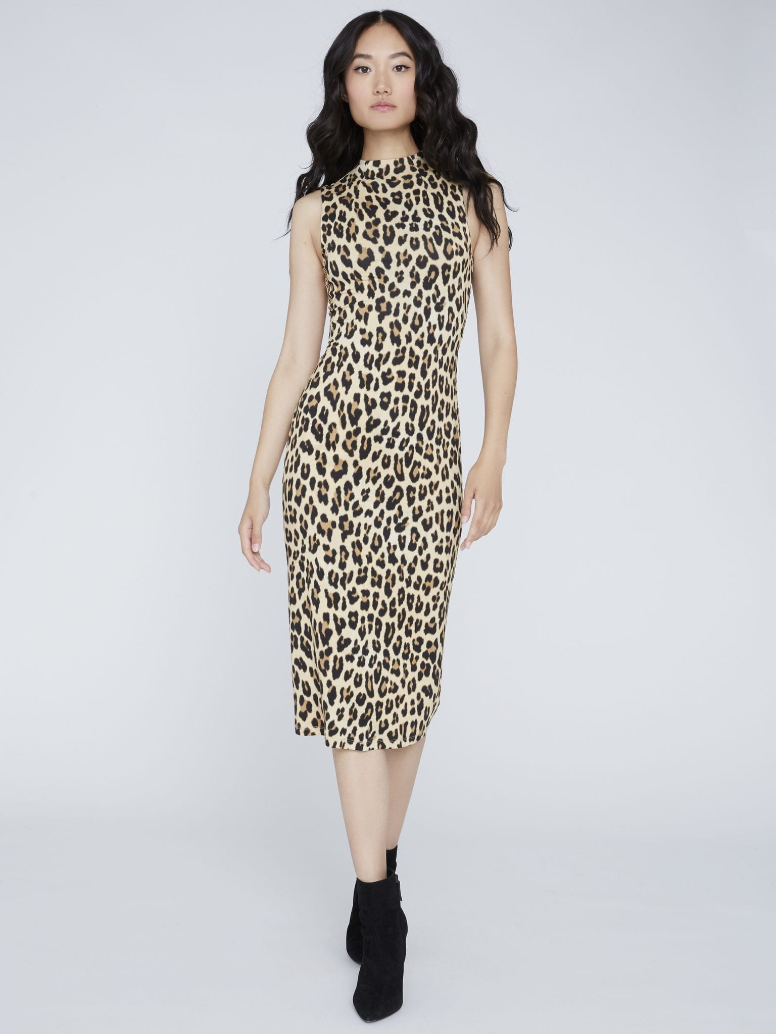 ALICE AND OLIVIA Delora Fitted Mock Neck Dress