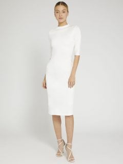 ALICE AND OLIVIA Delora Fitted Mock Neck Midi Dress