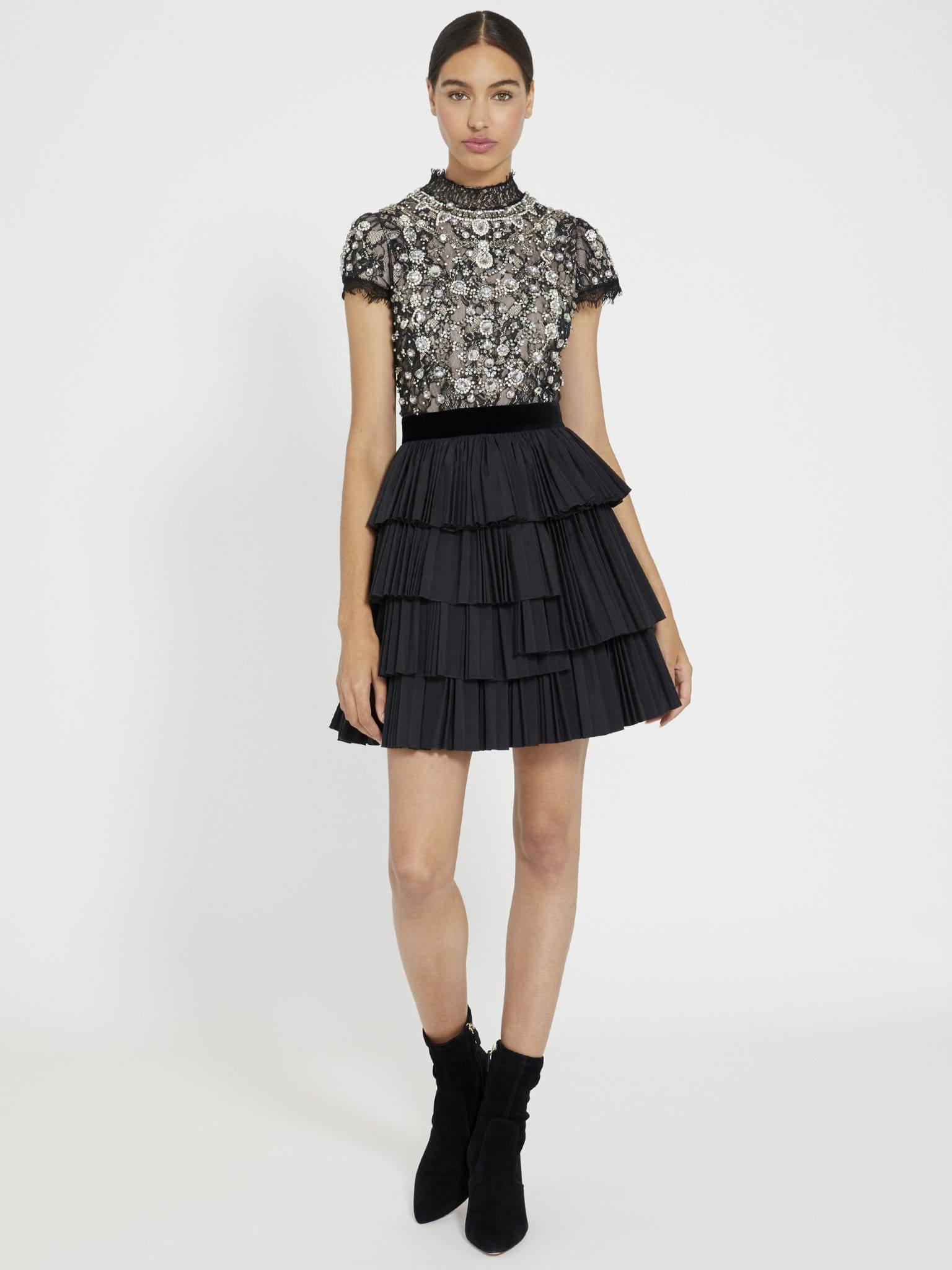 ALICE AND OLIVIA Dorian Crystal Mock Neck Mini Gown