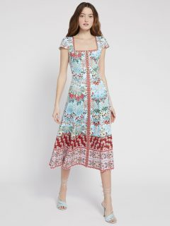 ALICE AND OLIVIA Estrella Floral Midi Dress