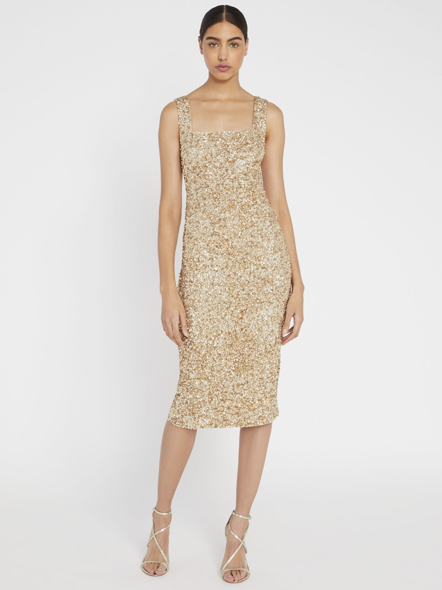 ALICE AND OLIVIA Helen Sequin Fitted Midi Dress