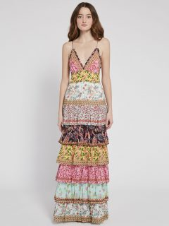 ALICE AND OLIVIA Imogene Tier Ruffle Maxi Dress