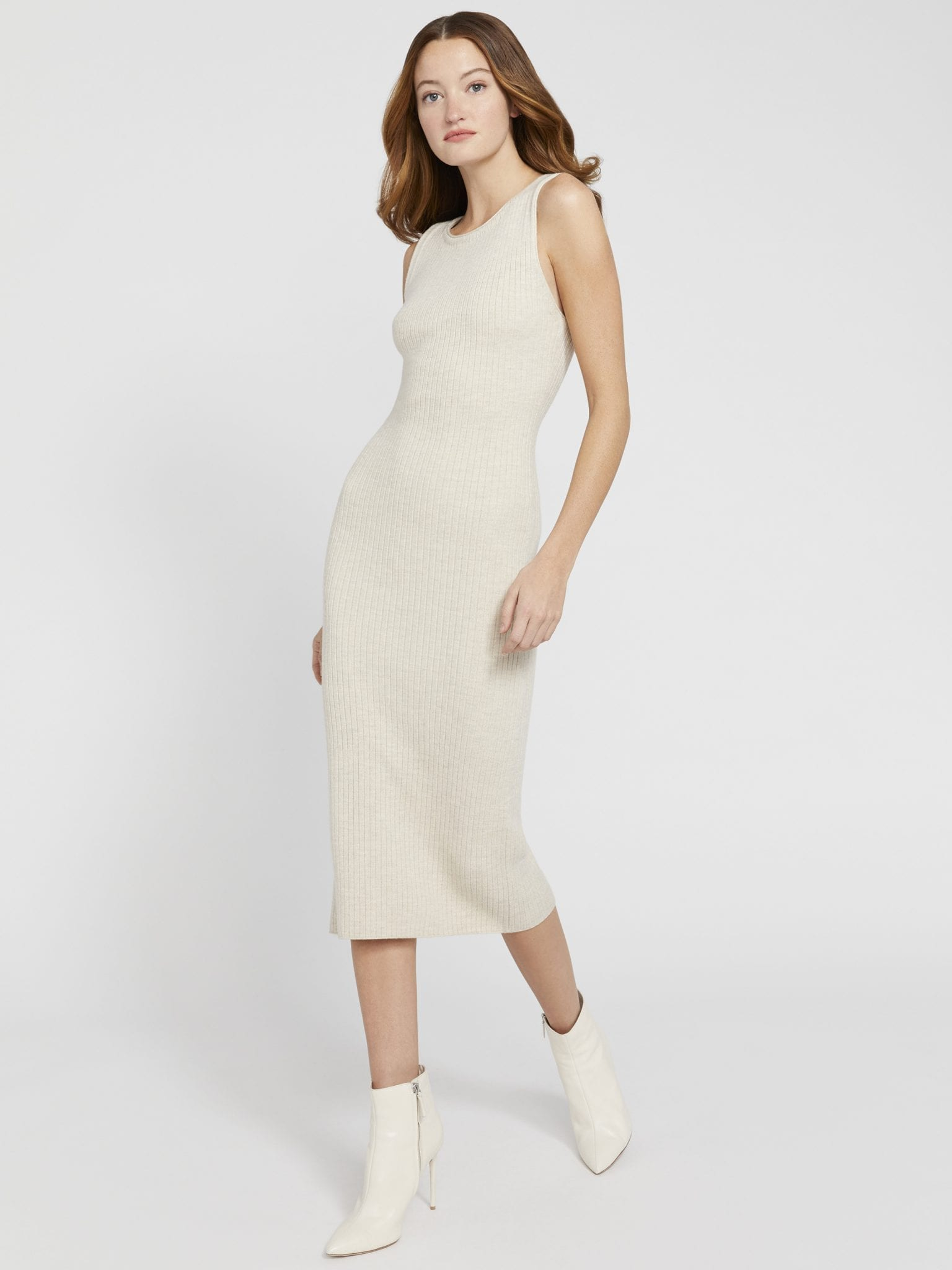 ALICE AND OLIVIA Jenner Crew Neck Fitted Midi Dress