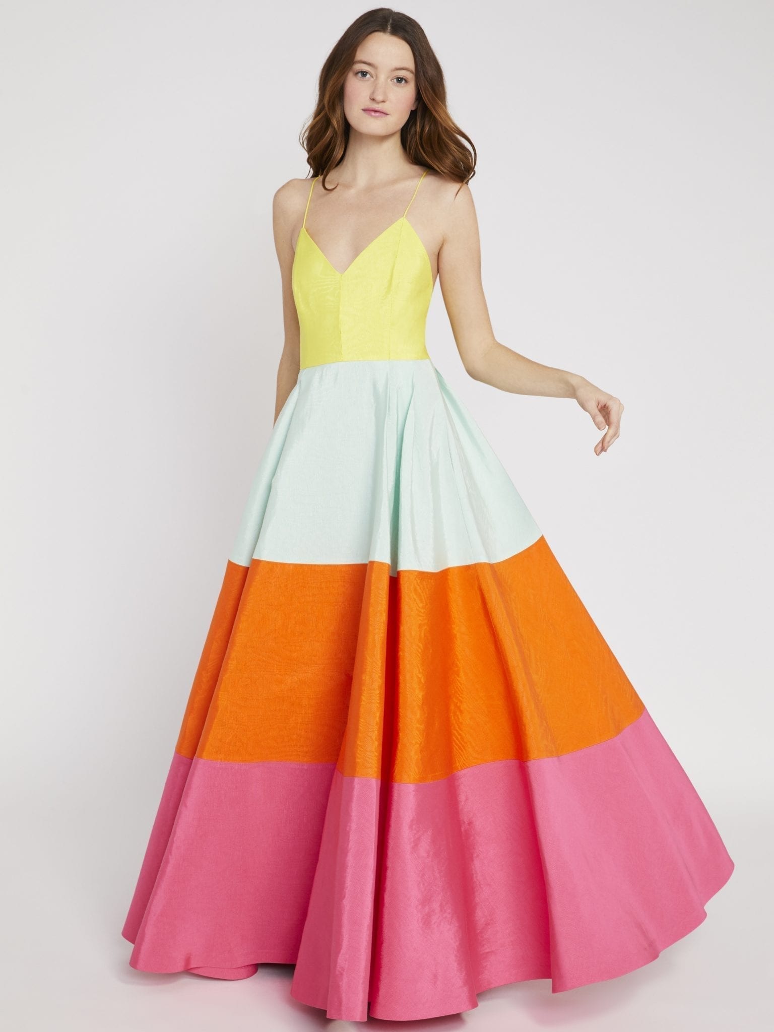 ALICE AND OLIVIA Lavelle Color Block Maxi Gown