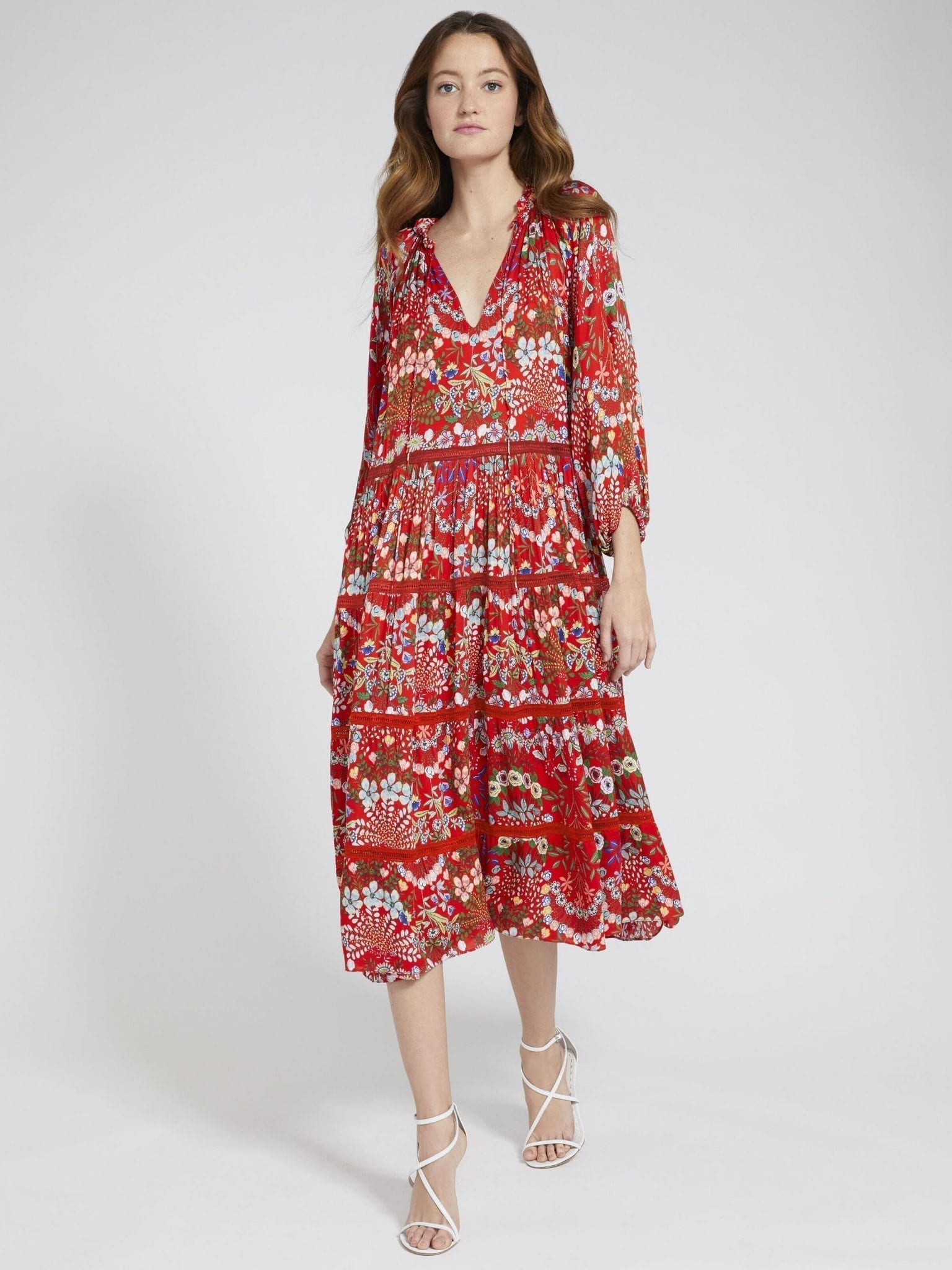 ALICE AND OLIVIA Layla Floral Ruffle Midi Dress