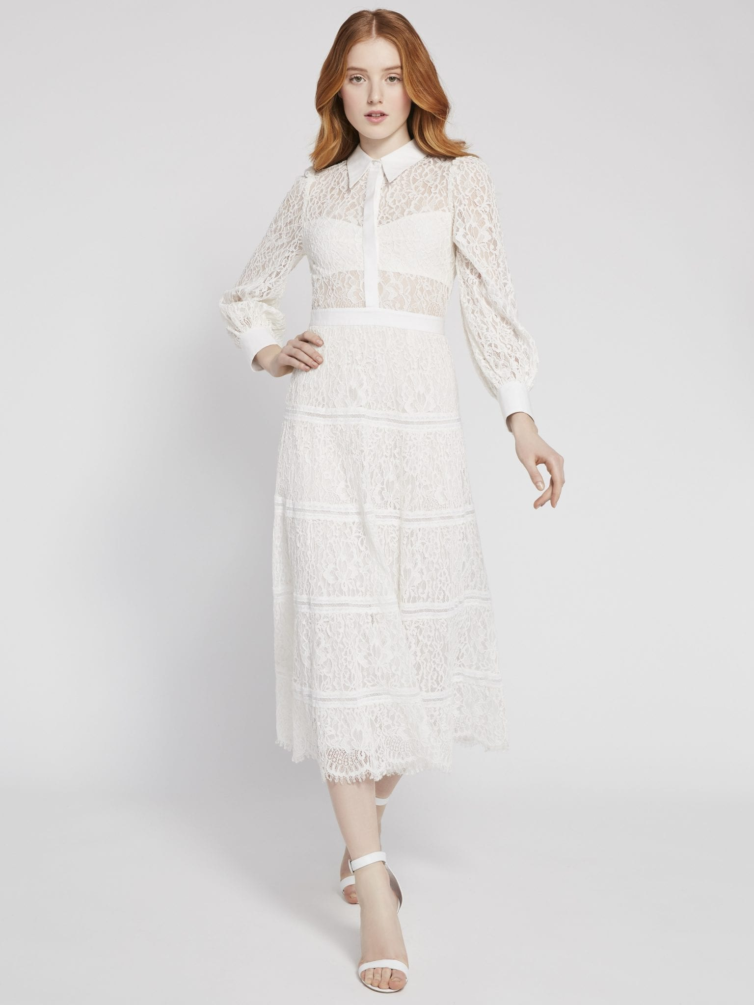 ALICE AND OLIVIA Naya Lace Midi Dress