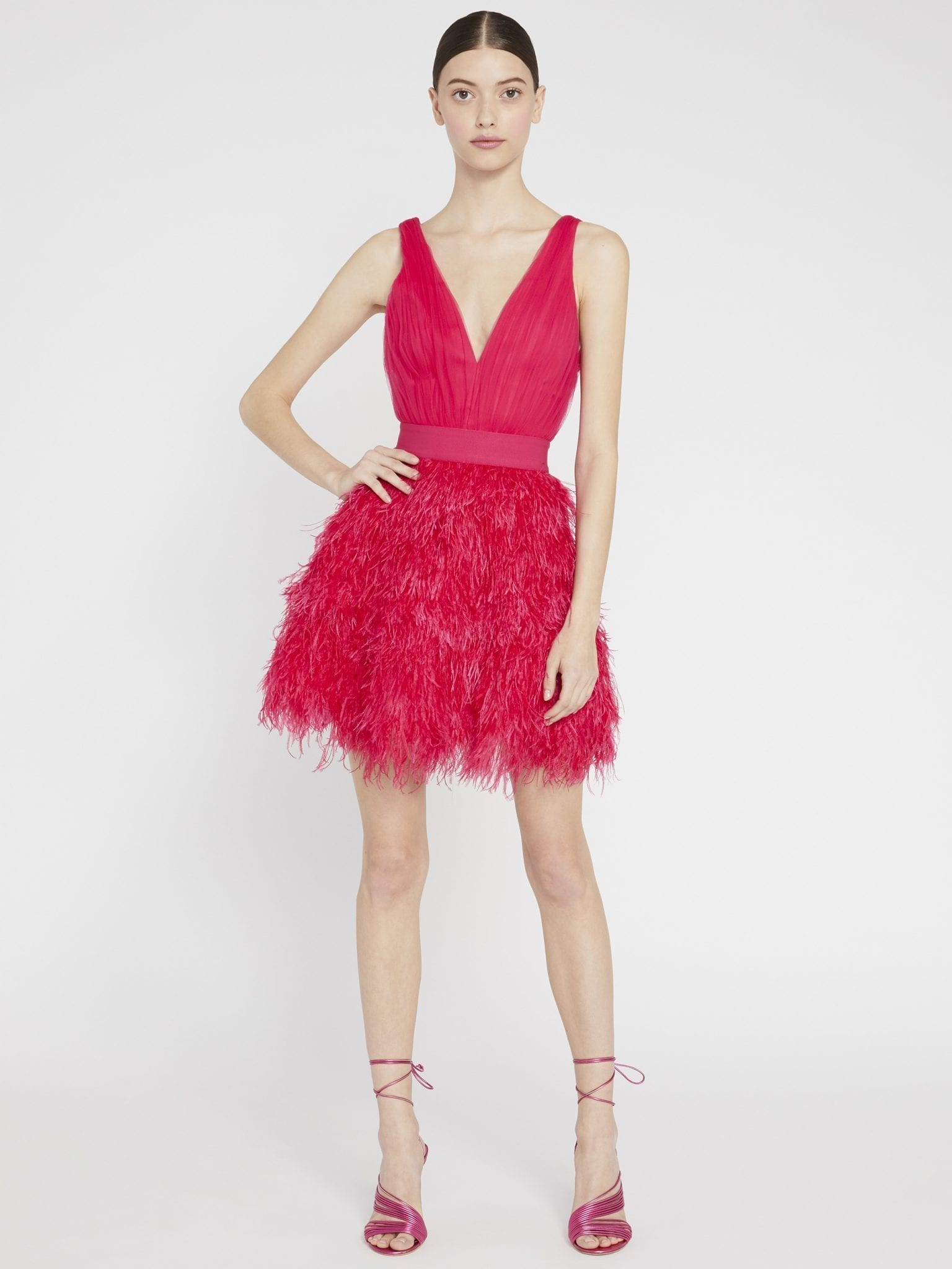 ALICE AND OLIVIA Tegan Feather Party Mini Dress