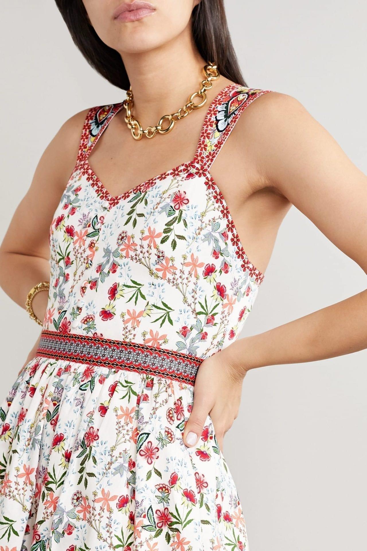 ALICE + OLIVIA Portia Floral-Print Cotton-Blend Poplin Midi Dress