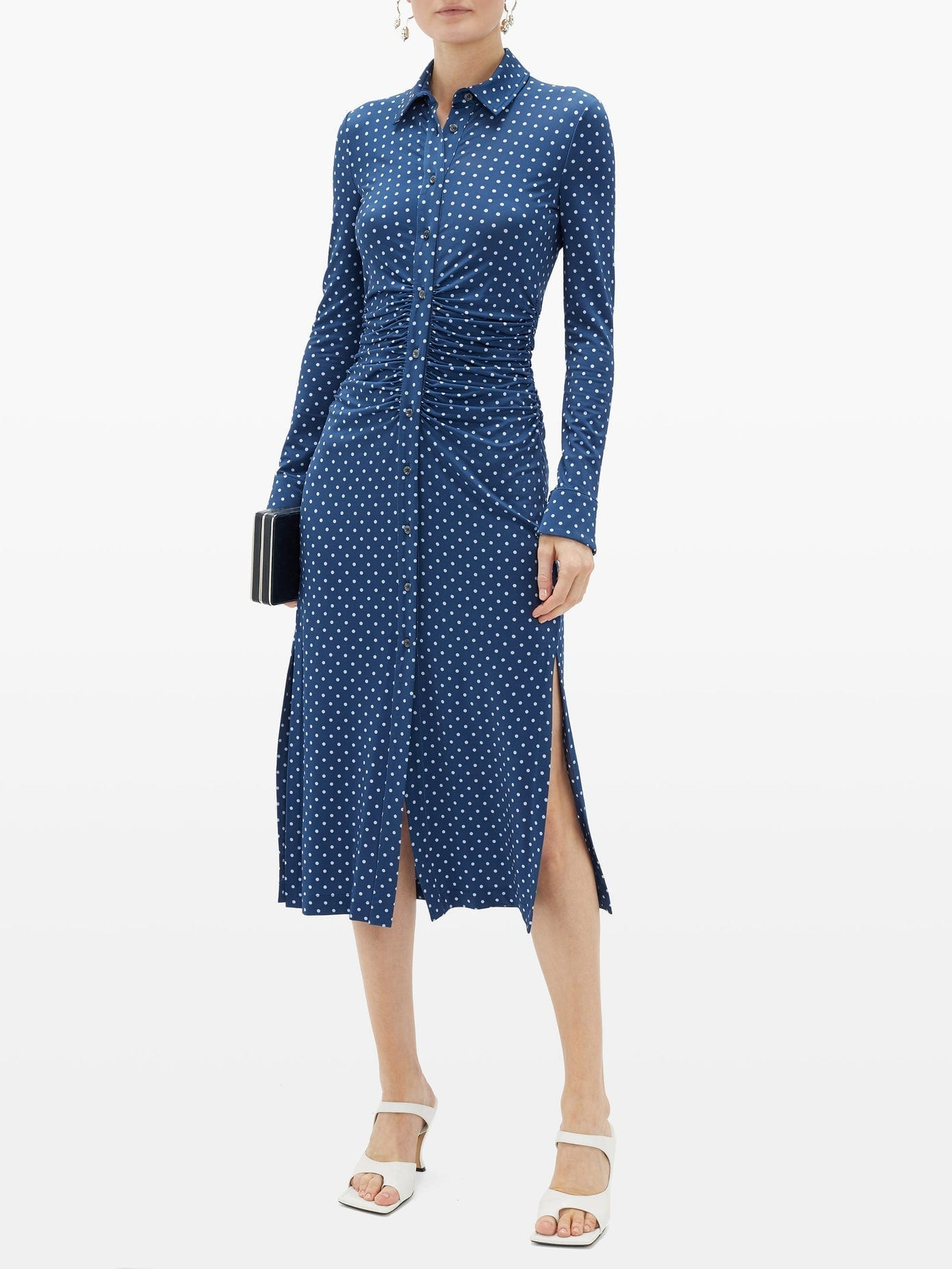 ALTUZARRA Polka-Dot Ruched-Waist Shirt Dress