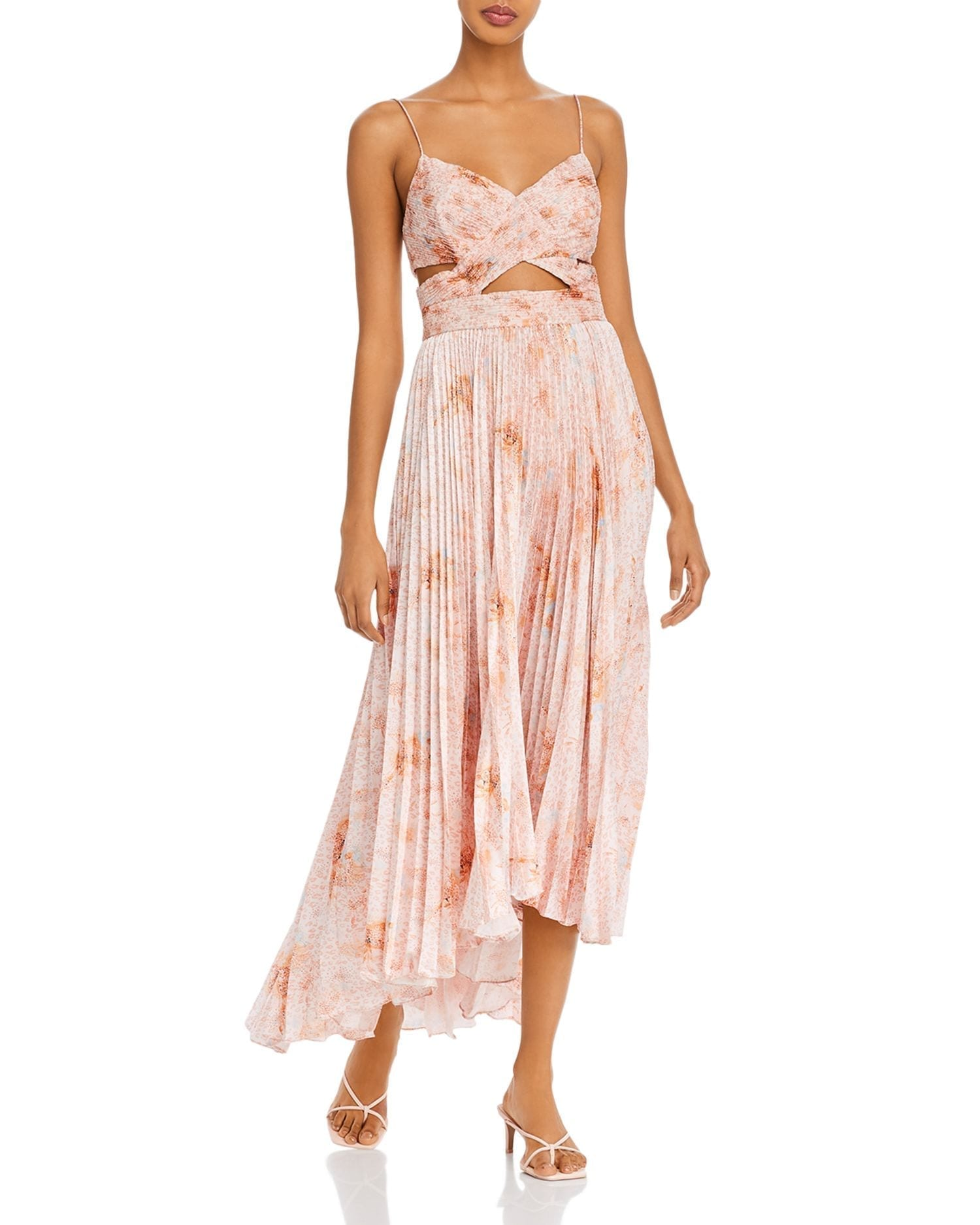 AMUR Lumi Waist-Cutout Pleated Dress