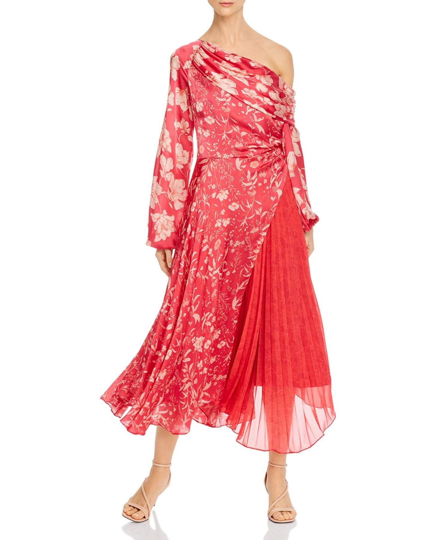 AMUR One-Shoulder Floral Silk Dress