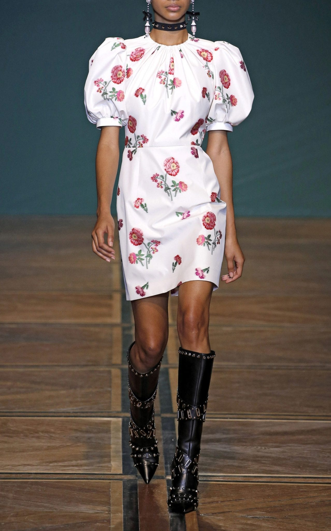 ANDREW GN Floral-Print Satin Mini Dress
