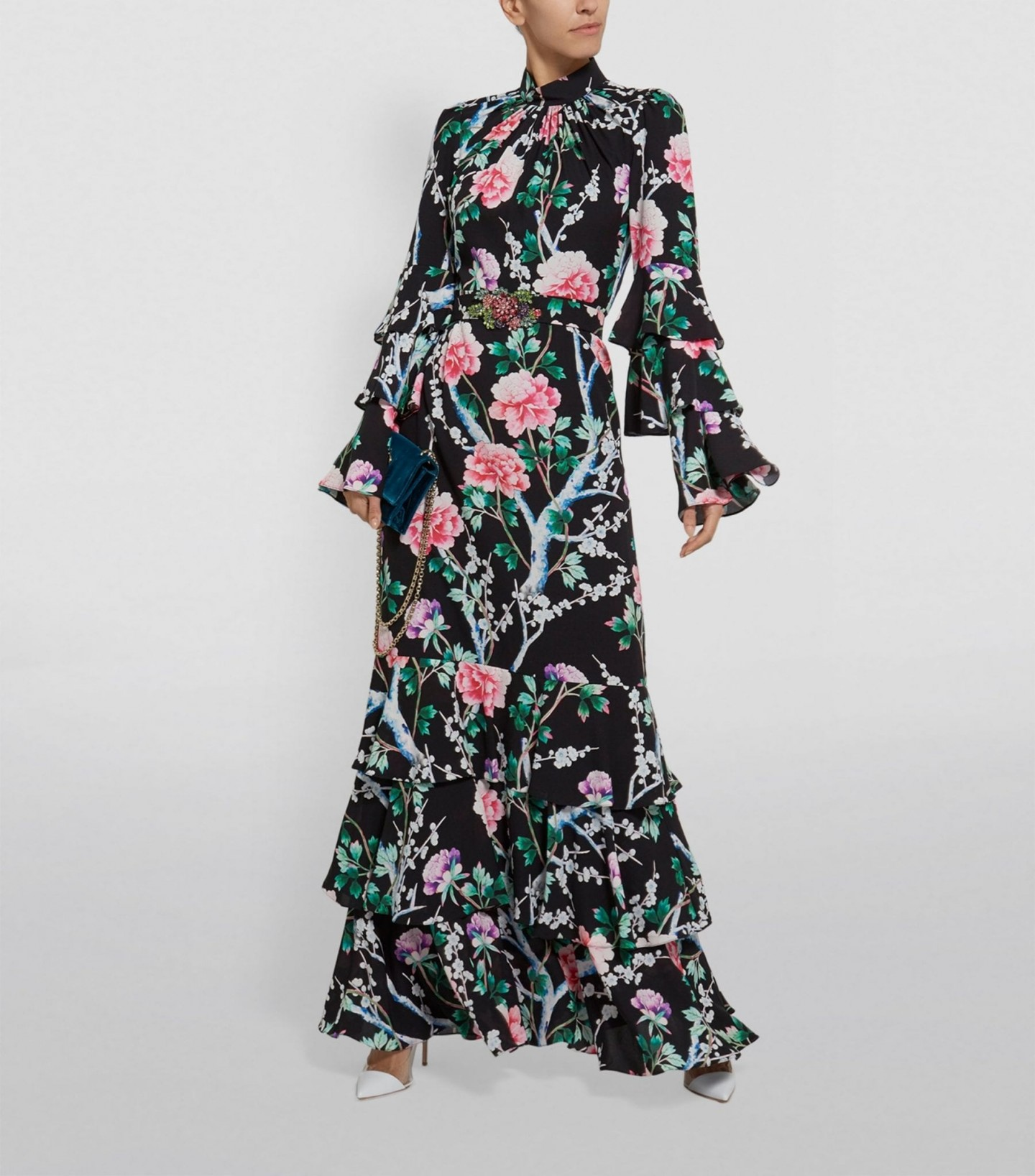 ANDREW GN Peony Print Long Silk Dress