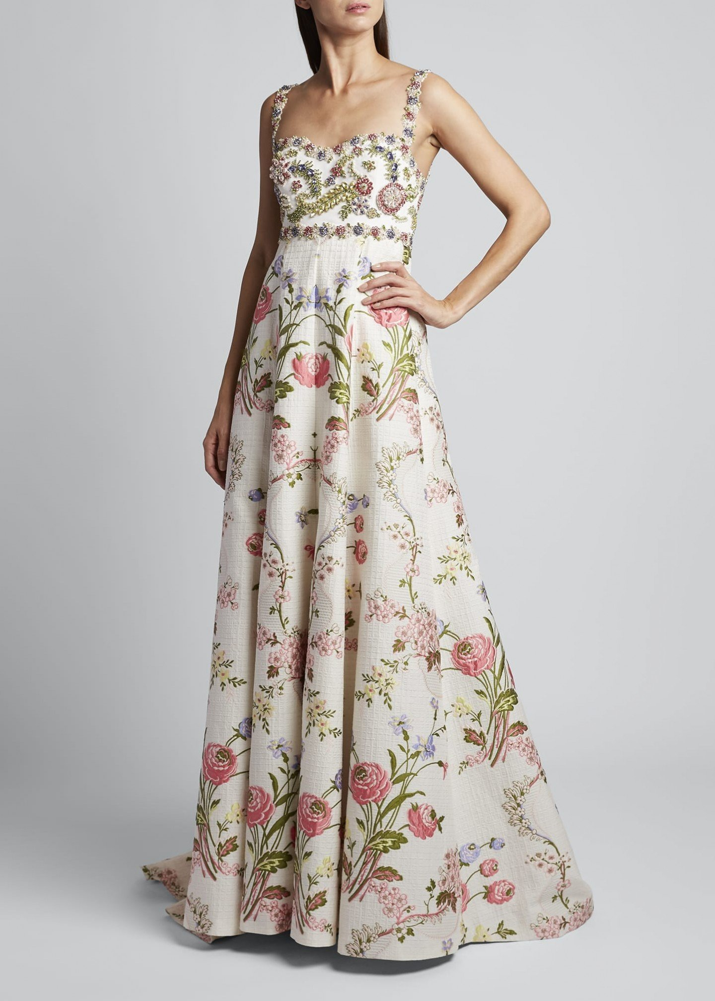 ANDREW GN Spaghetti Strap Floral Gown