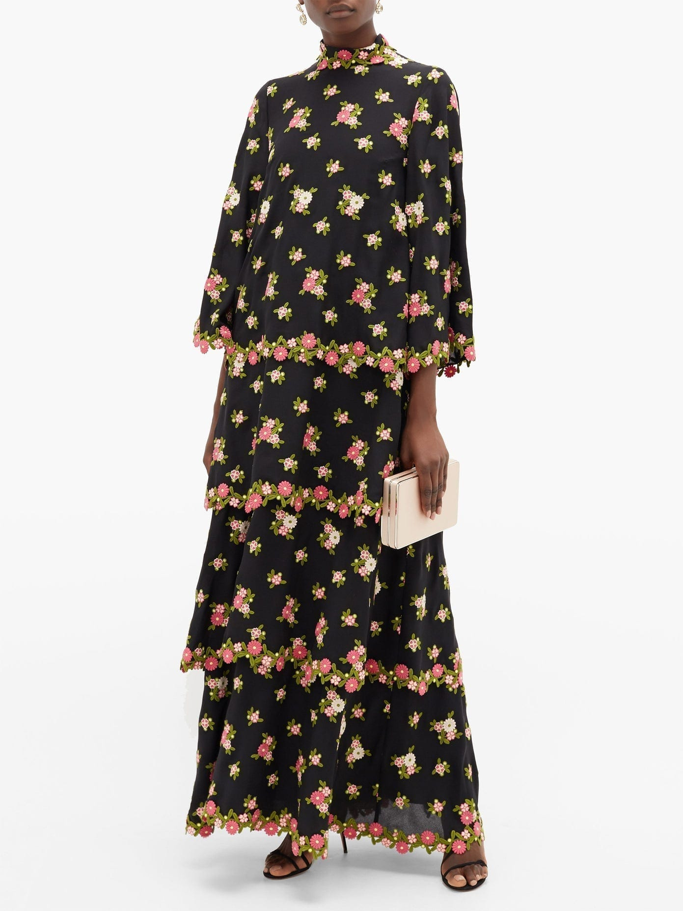 ANDREW GN Tiered Floral-Embroidered Silk-Blend Crepe Dress