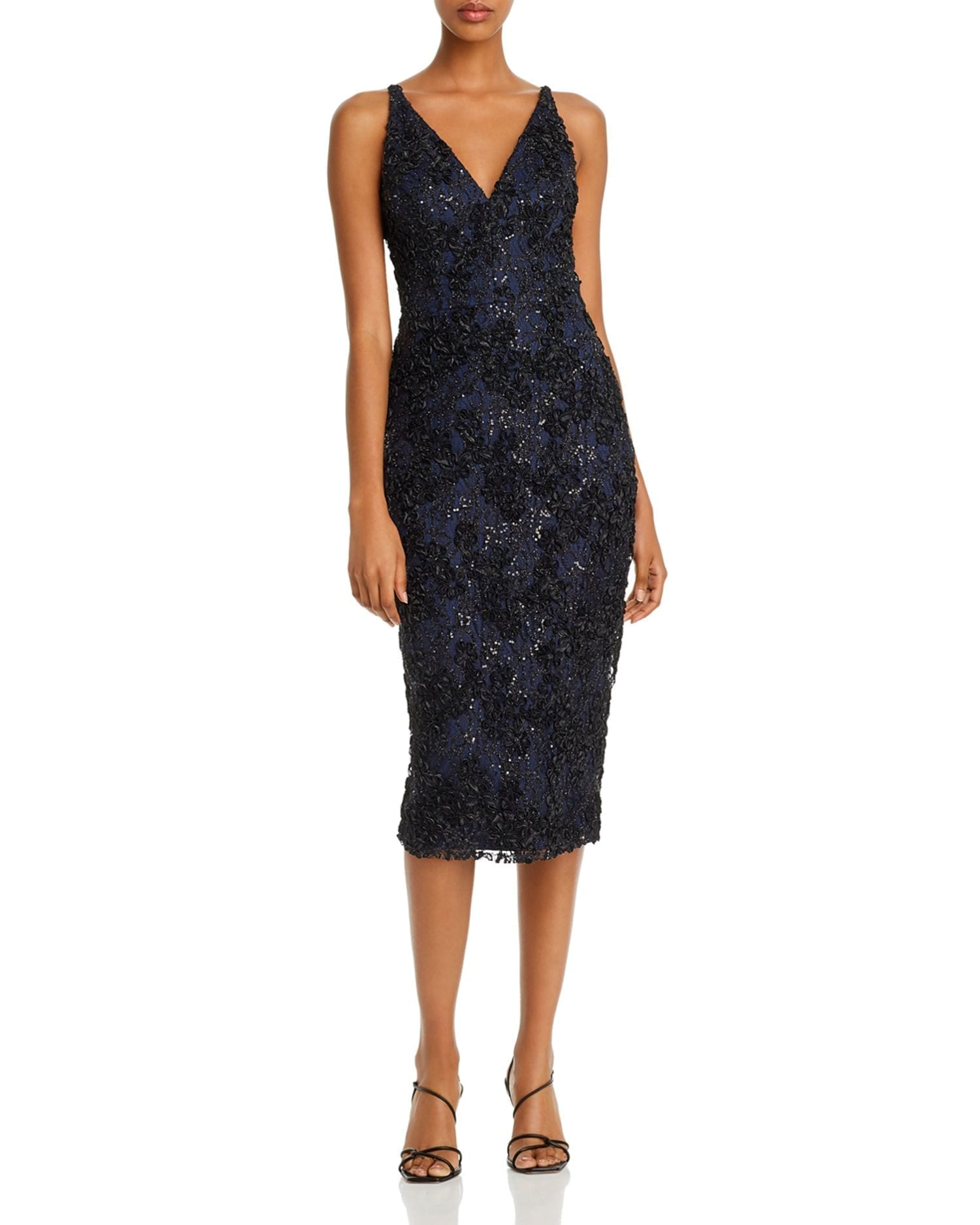 AQUA Sequin Lace Sheath Dress