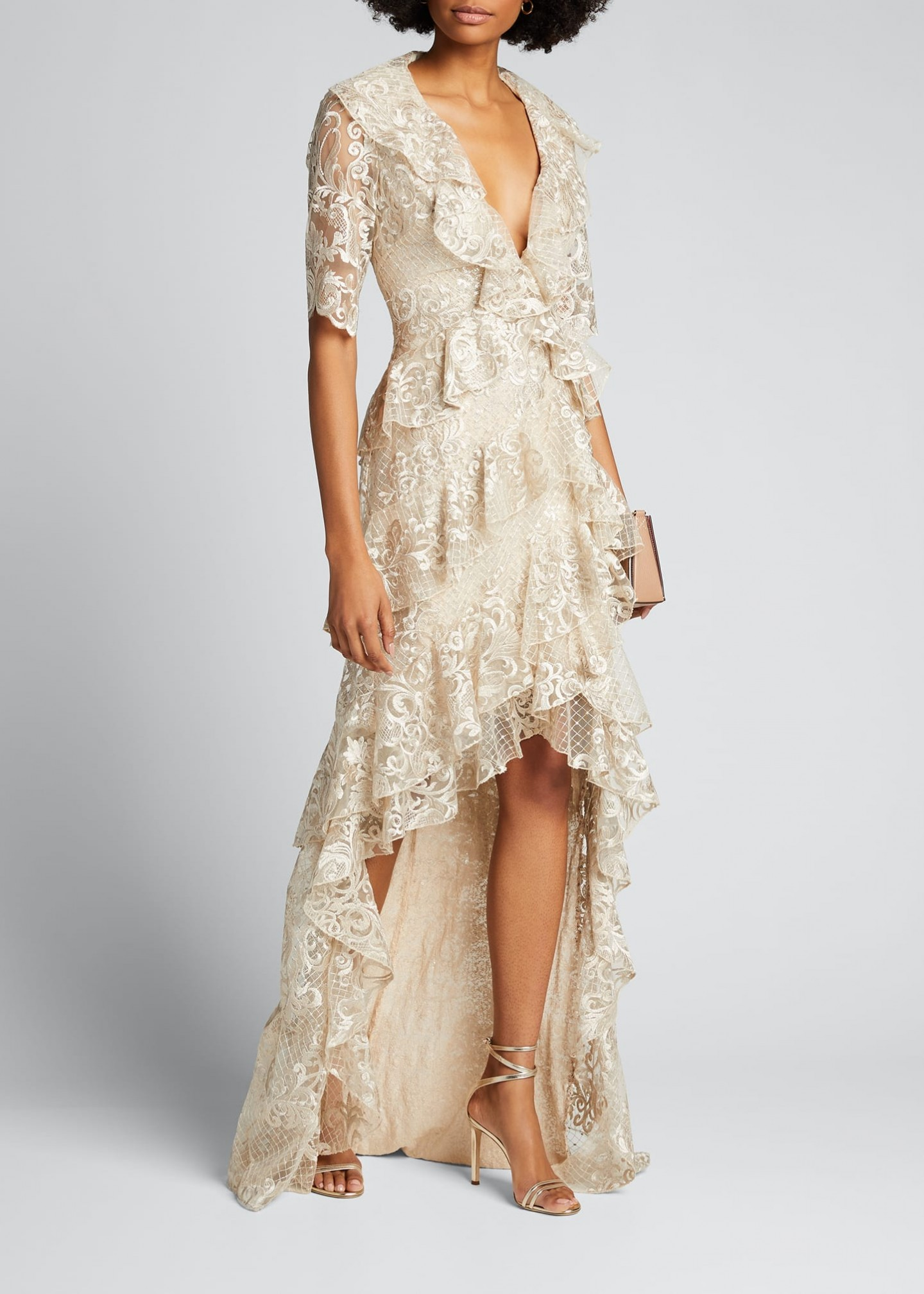 BADGLEY MISCHKA COLLECTION Sequin Lace 1-2-Sleeve Tiered Ruffle High-Low Gown