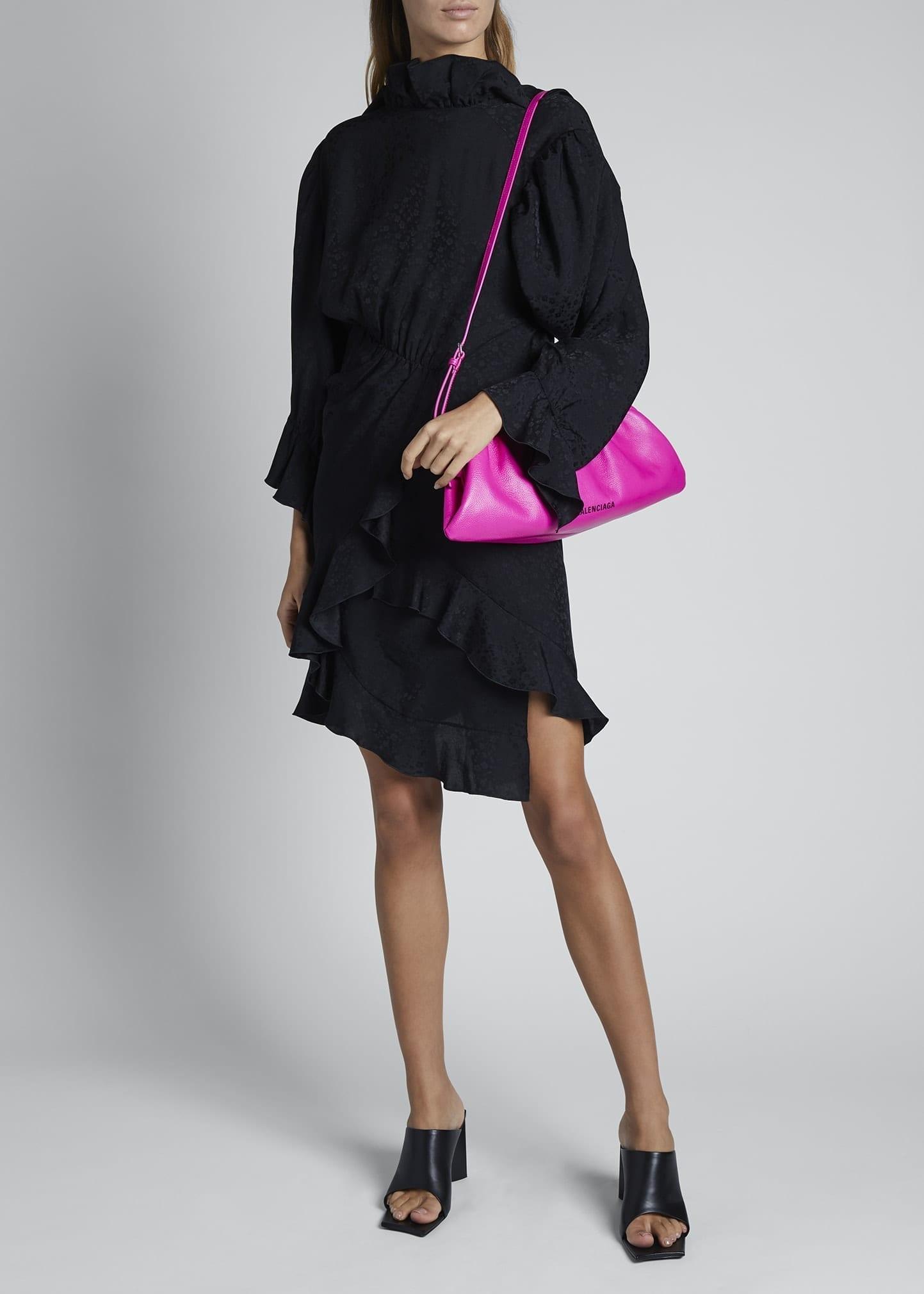 BALENCIAGA Satin Turtleneck Square-Neck Ruffle Strap Dress
