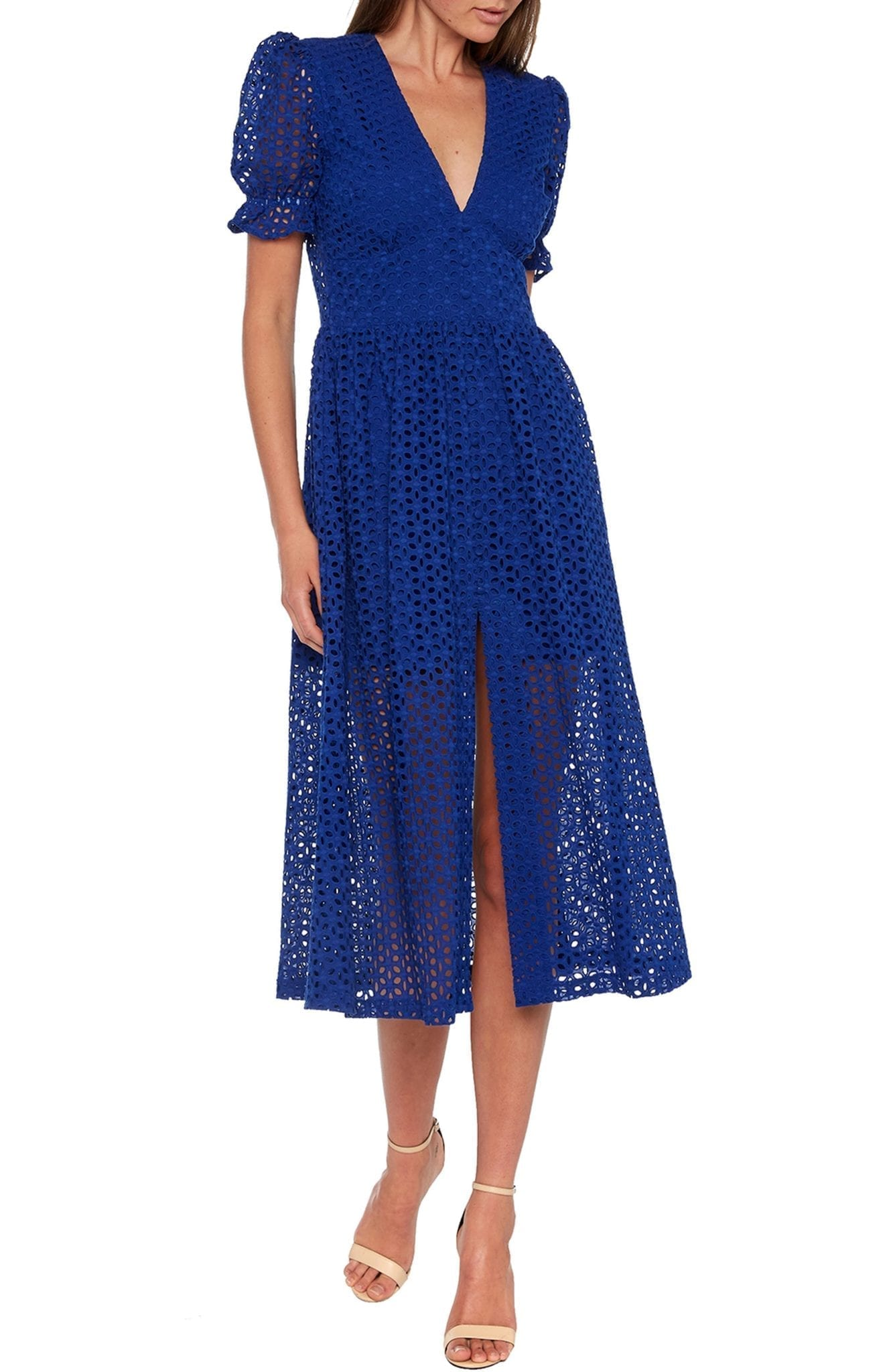 BARDOT Jordan Cotton Eyelet Midi Dress