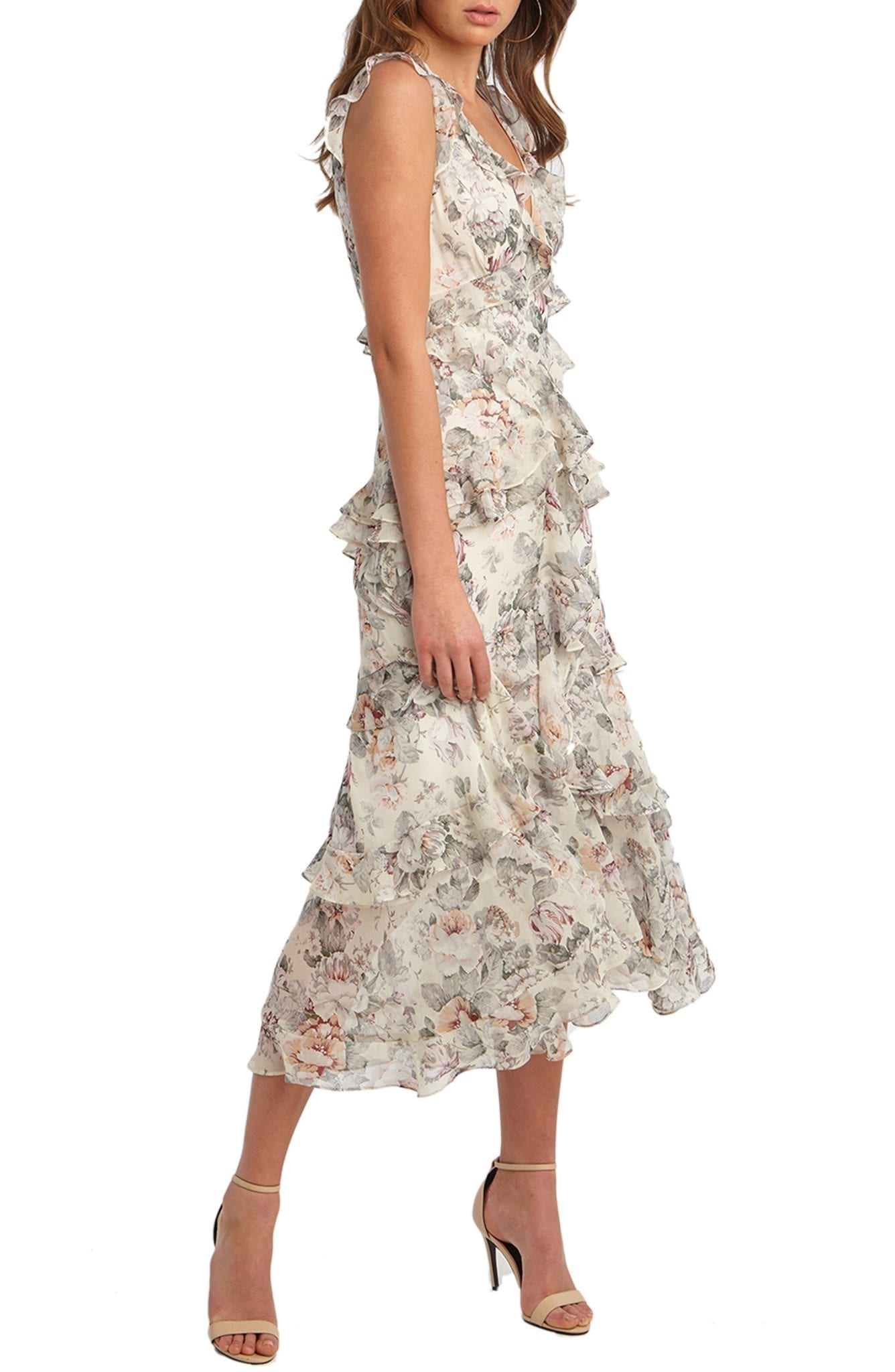 BARDOT Nelly Floral Print Midi Dress