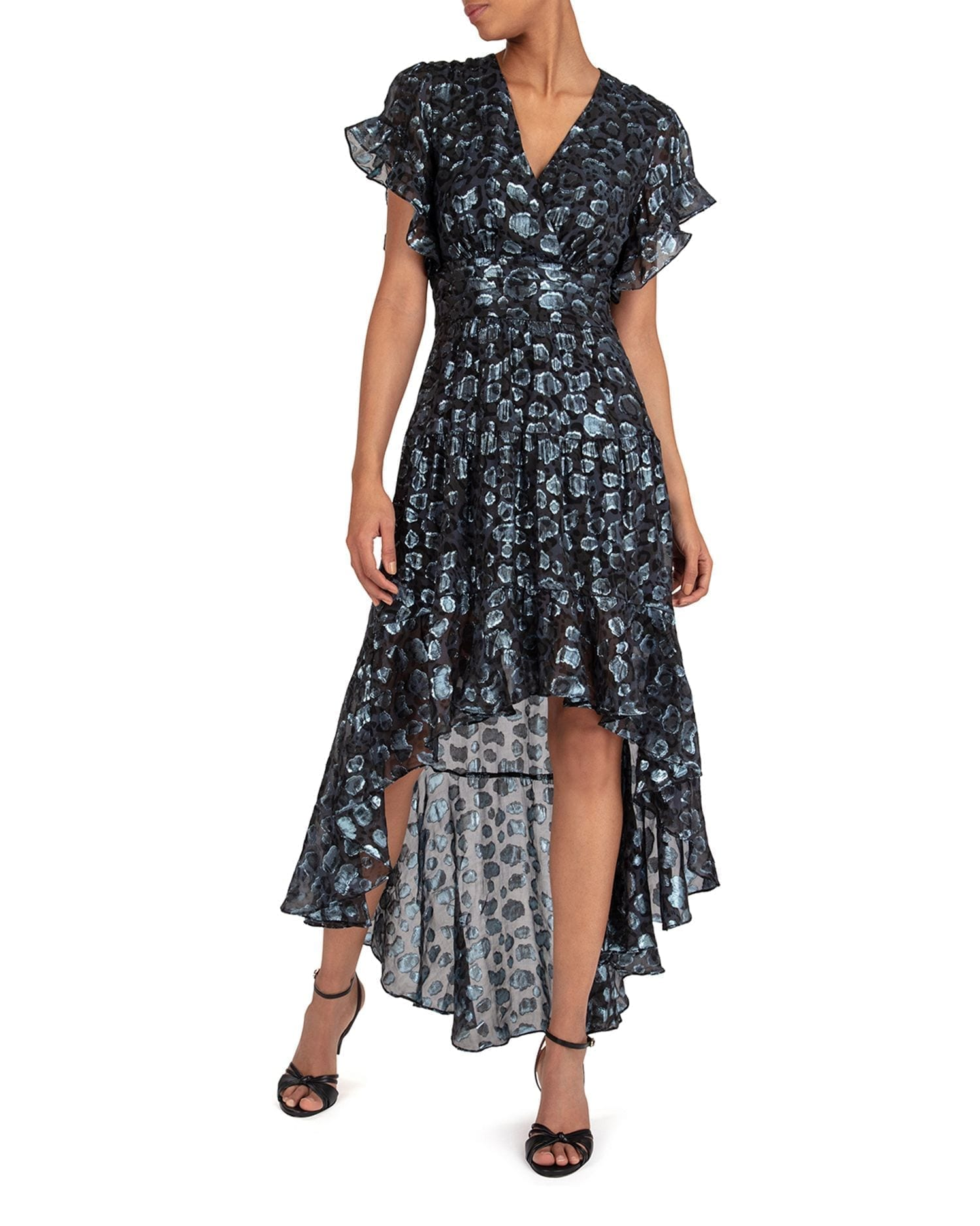 BA&SH Grace Metallic High Low Dress