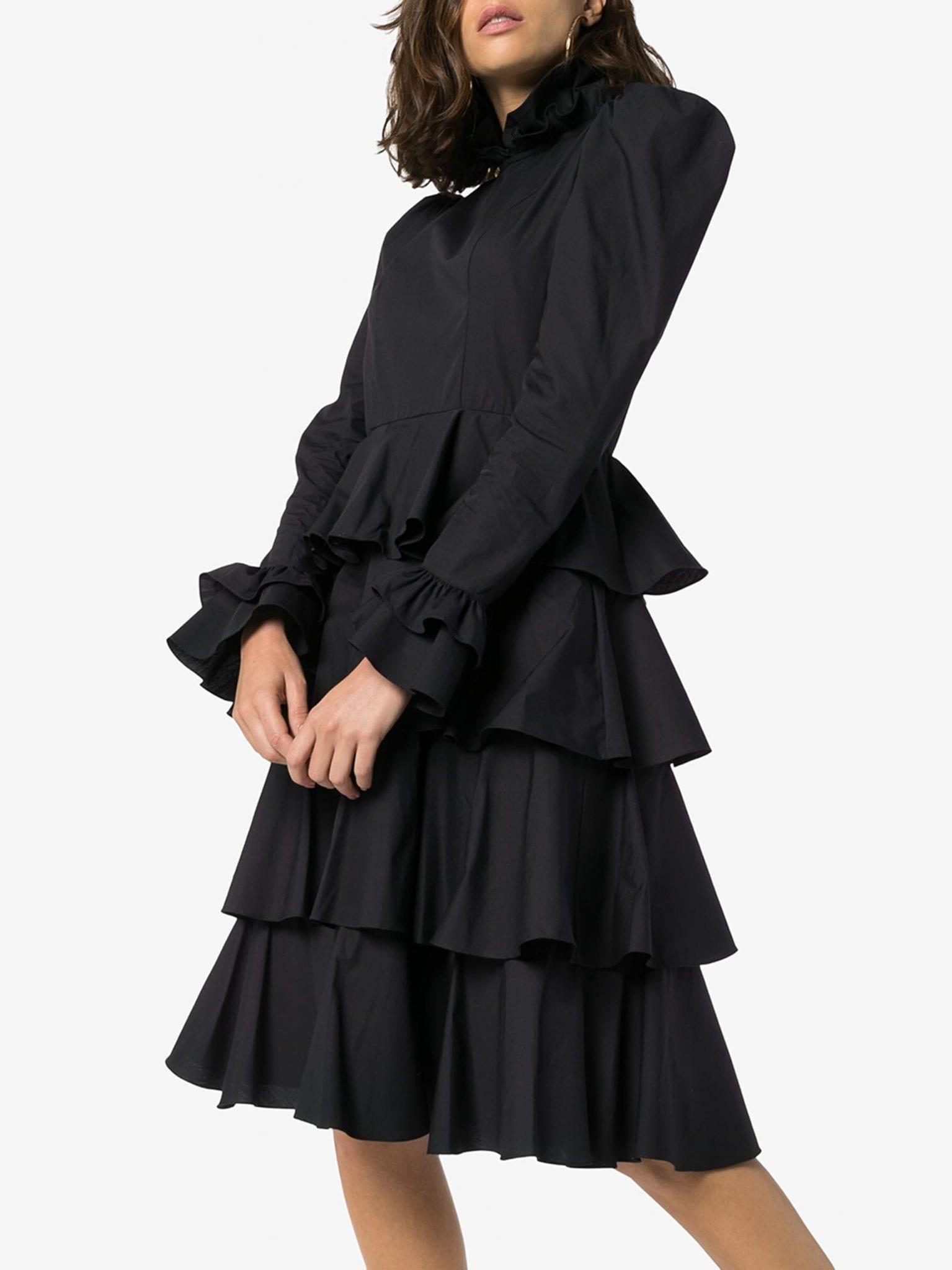 BATSHEVA Confection High Neck Tiered Dress