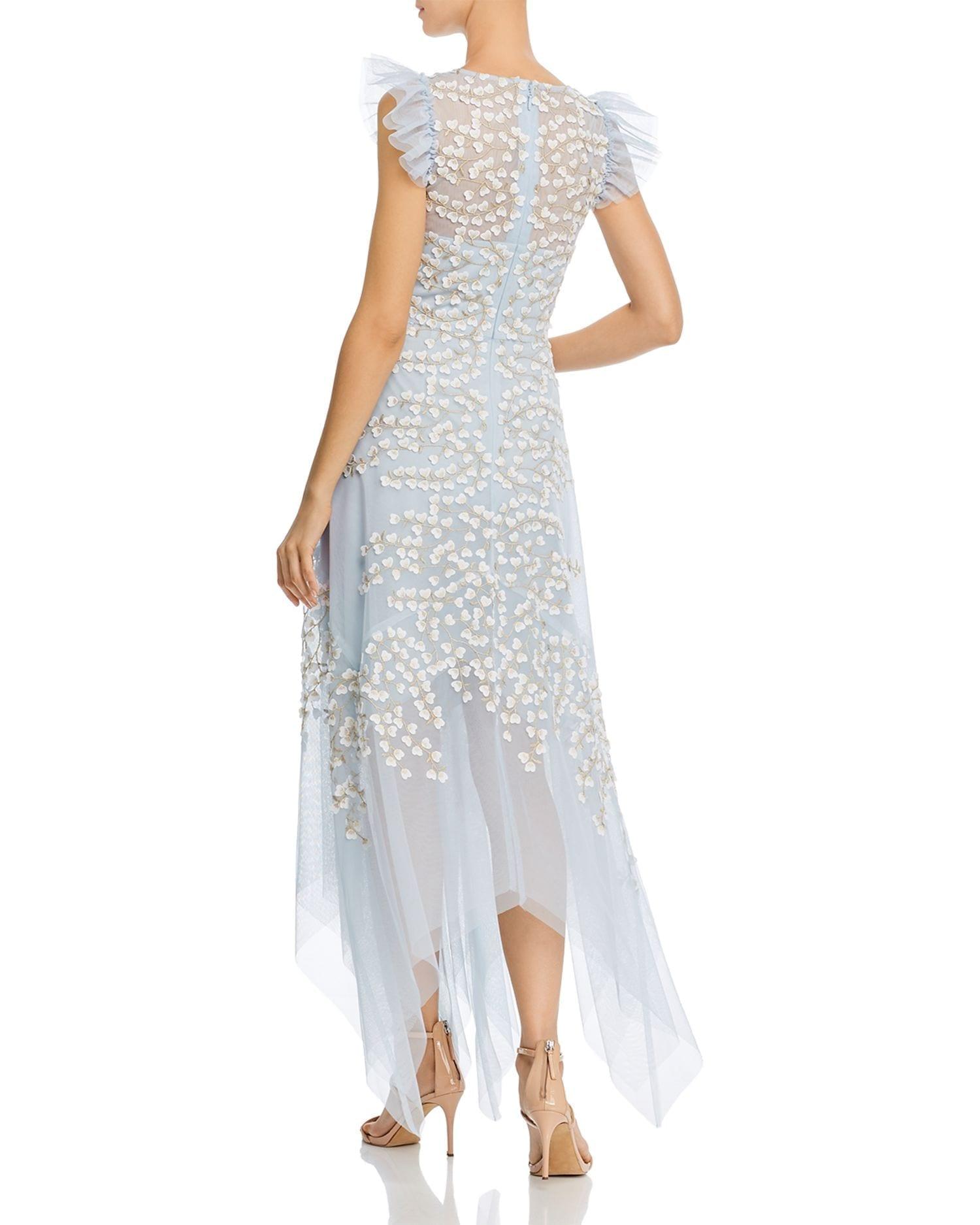 BCBGMAXAZRIA Floral Appliqué Midi Dress