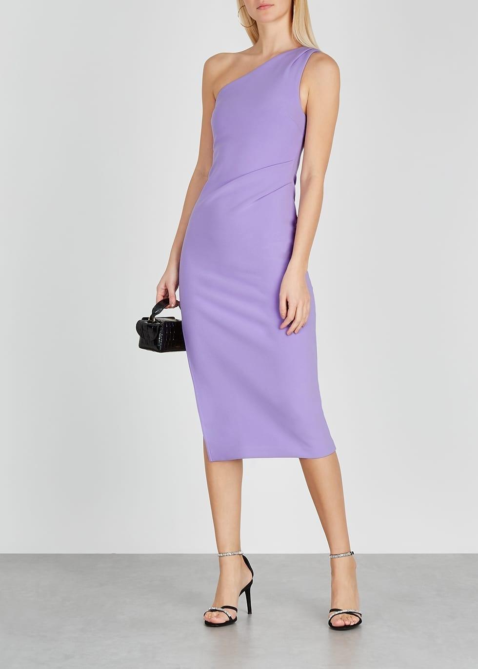 BEC & BRIDGE Gemma Lilac One-shoulder Midi Dress