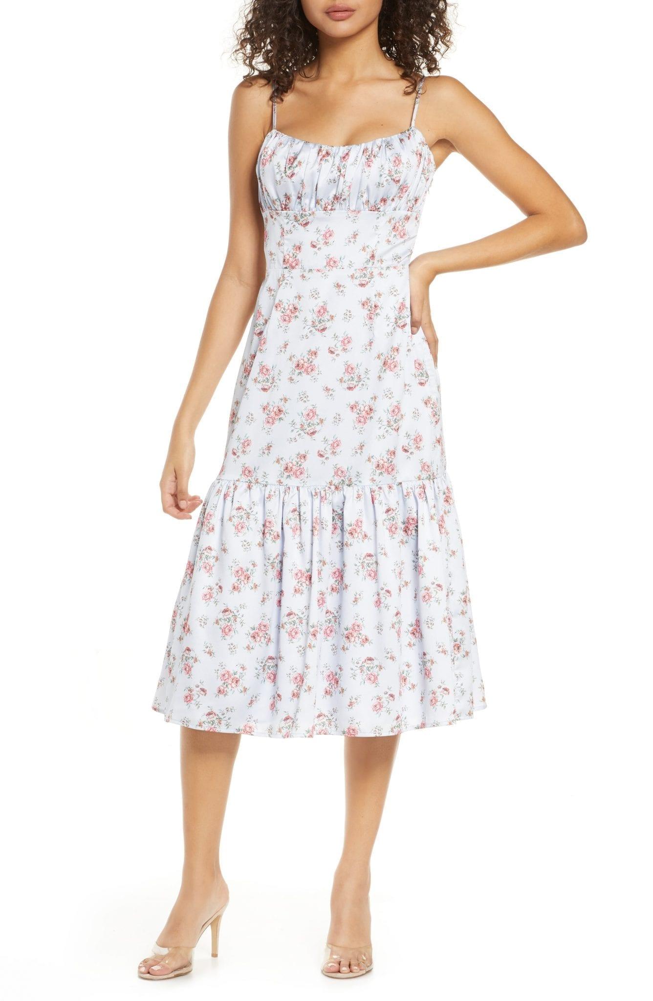 BELLEVUE THE LABEL Rosetta Floral Ruffle Hem Dress