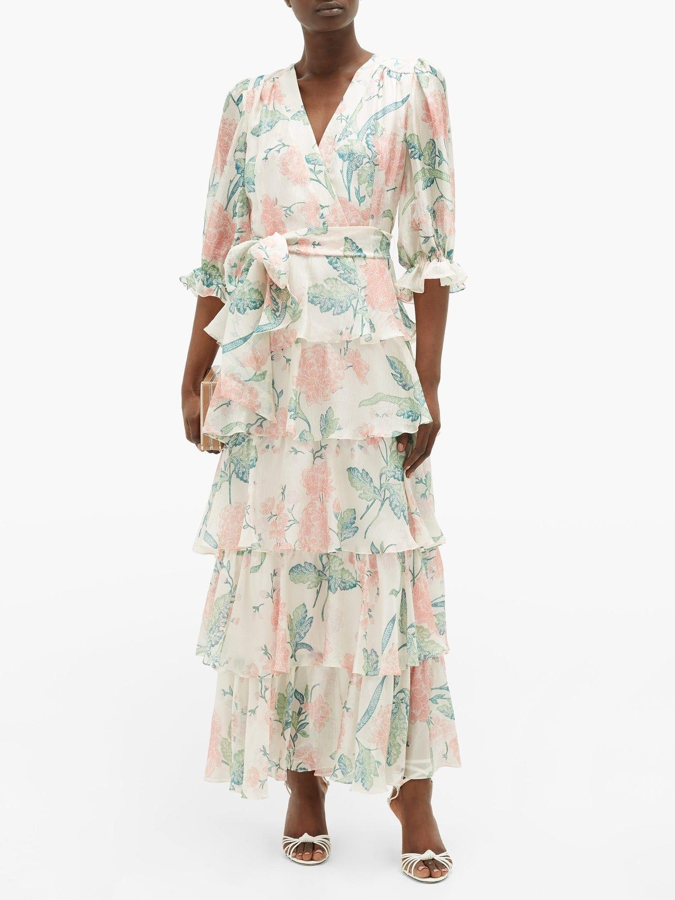 BEULAH Liana Floral-print Ruffle-tiered Silk Dress