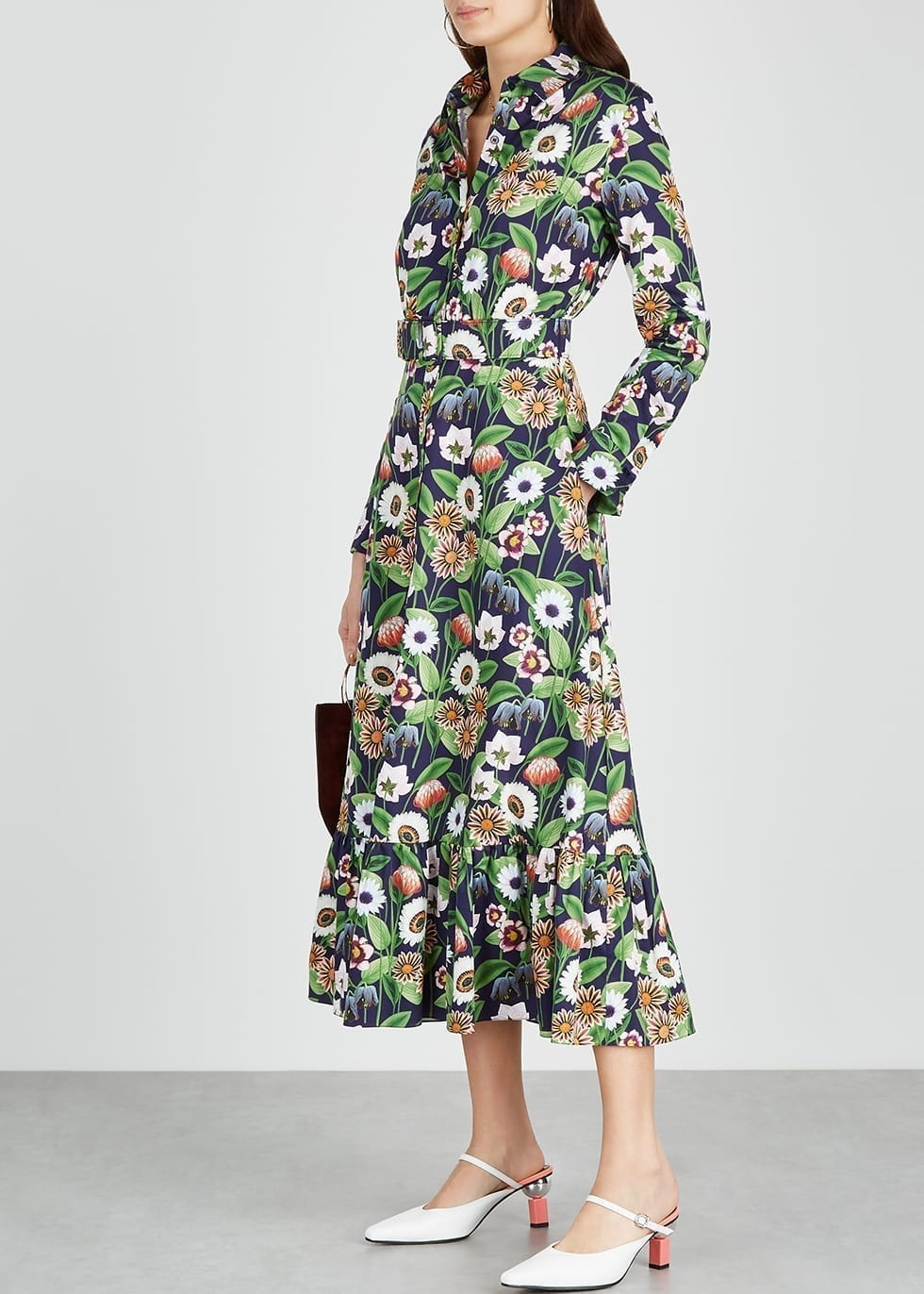 BORGO DE NOR Augusta Floral-print Poplin Shirt Dress