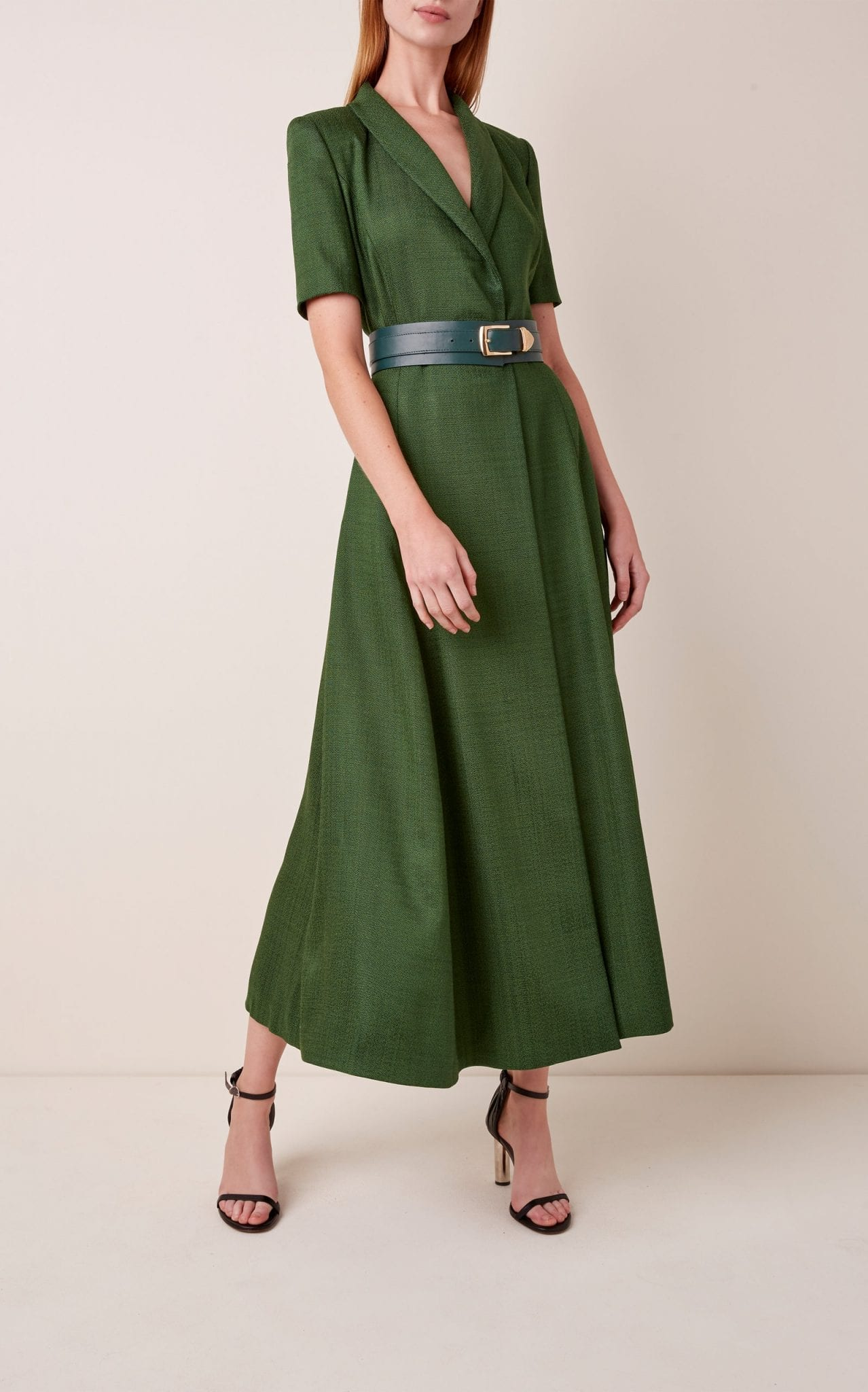 BRANDON MAXWELL Button-Detailed Linen Midi Dress