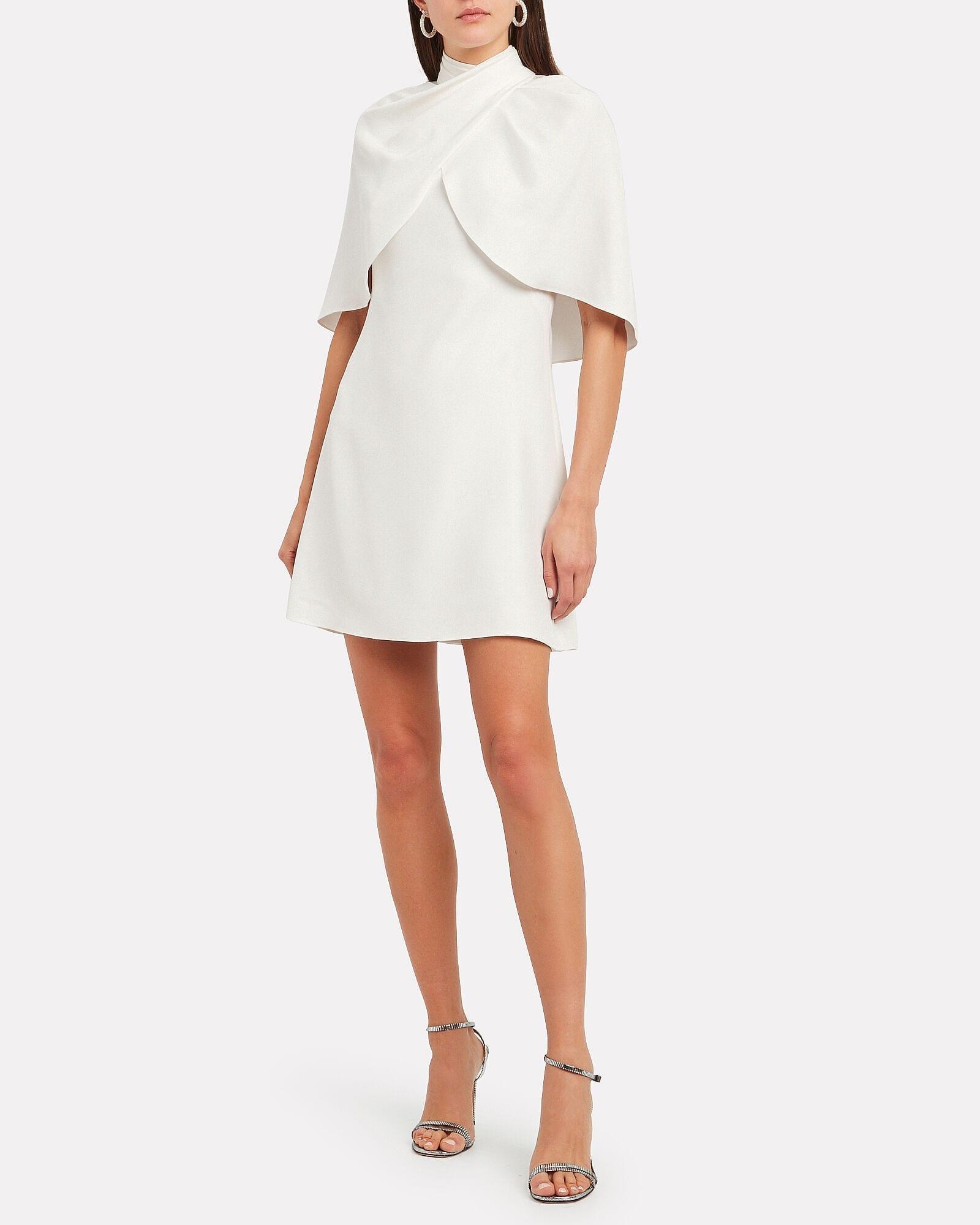 BRANDON MAXWELL Cape Silk Satin Dress