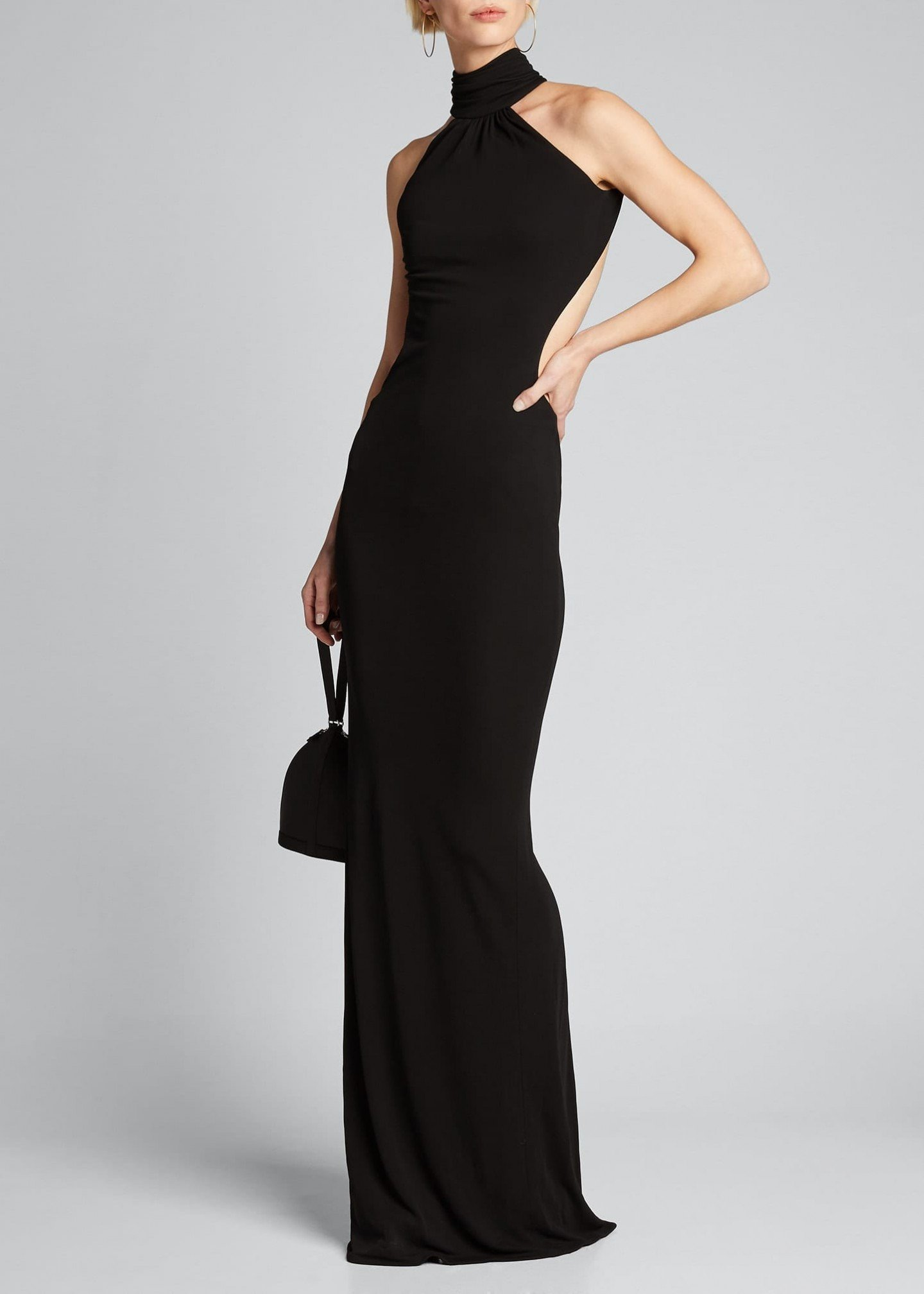 BRANDON MAXWELL High-Neck Backless Gown