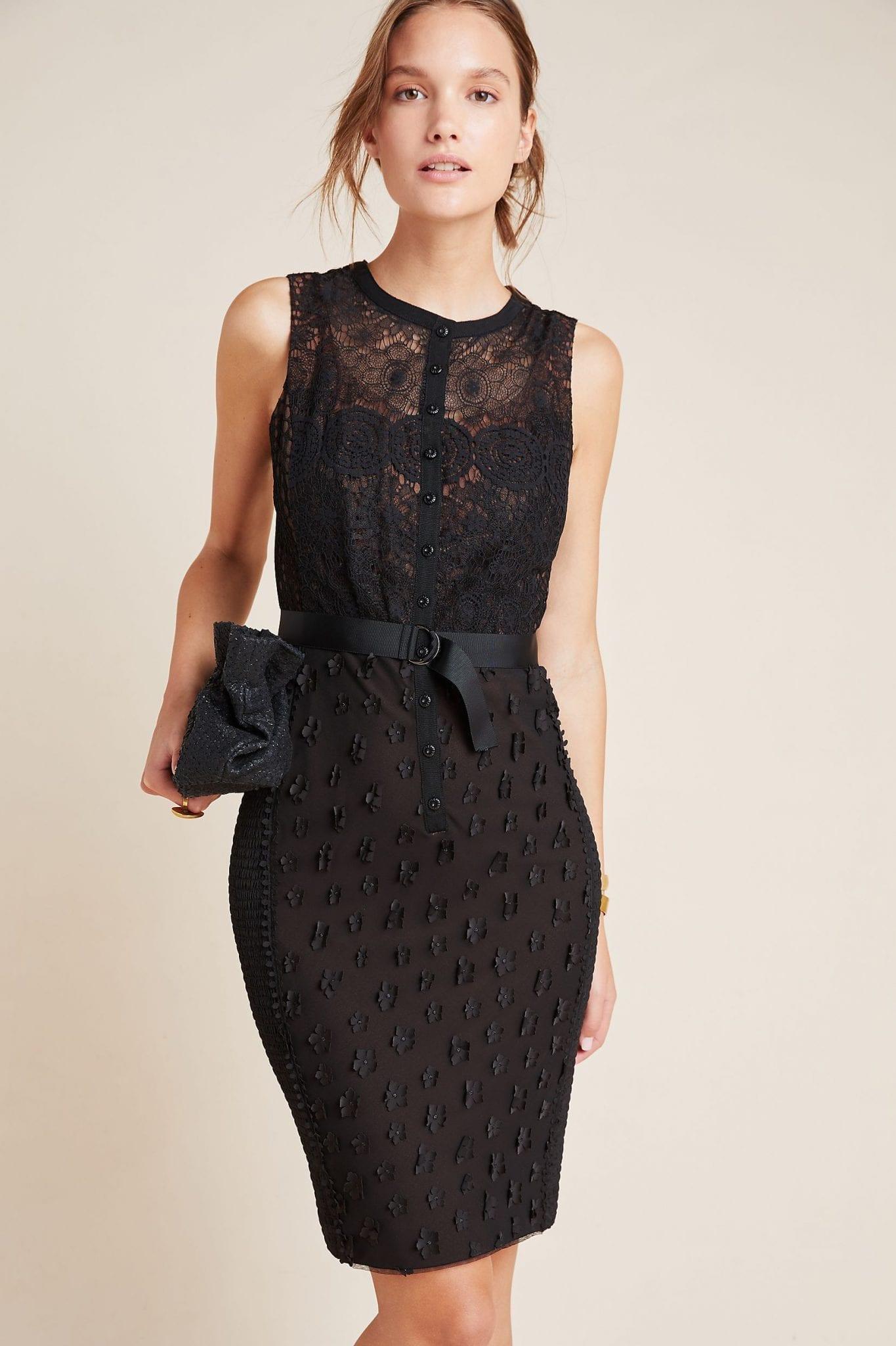 BYRON LARS Gisella Black Lace Sheath Dress