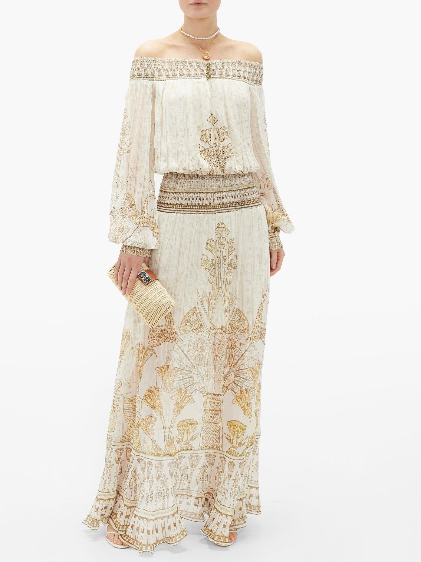 CAMILLA The Queen Embroidered Silk Maxi Dress