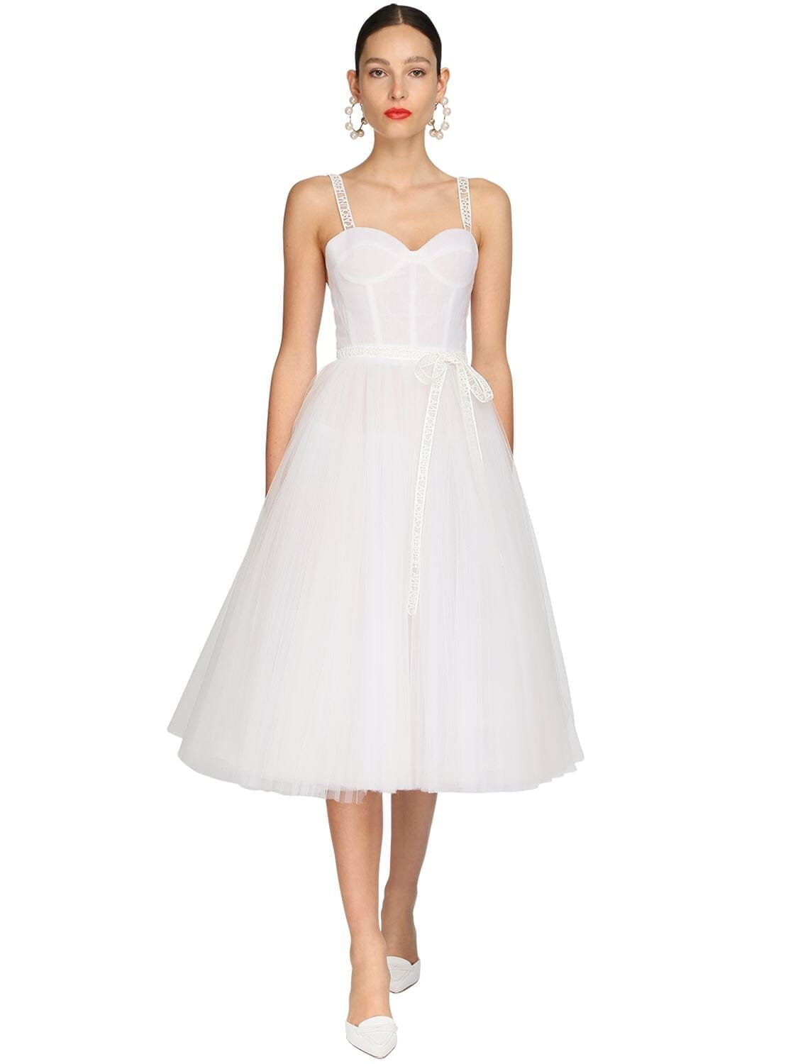CAROLINA HERRERA Logo Straps Tulle Midi Dress