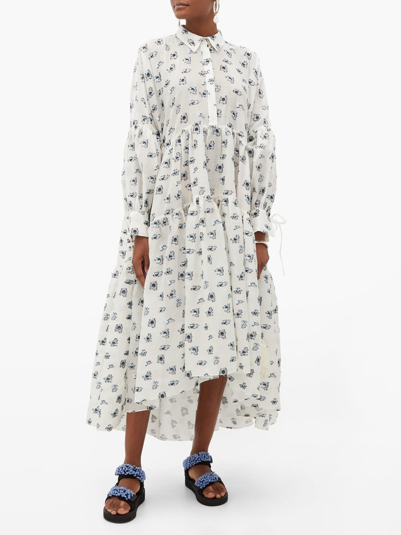 CECILIE BAHNSEN Cleo Tiered Floral Fil-coupé Shirt Dress