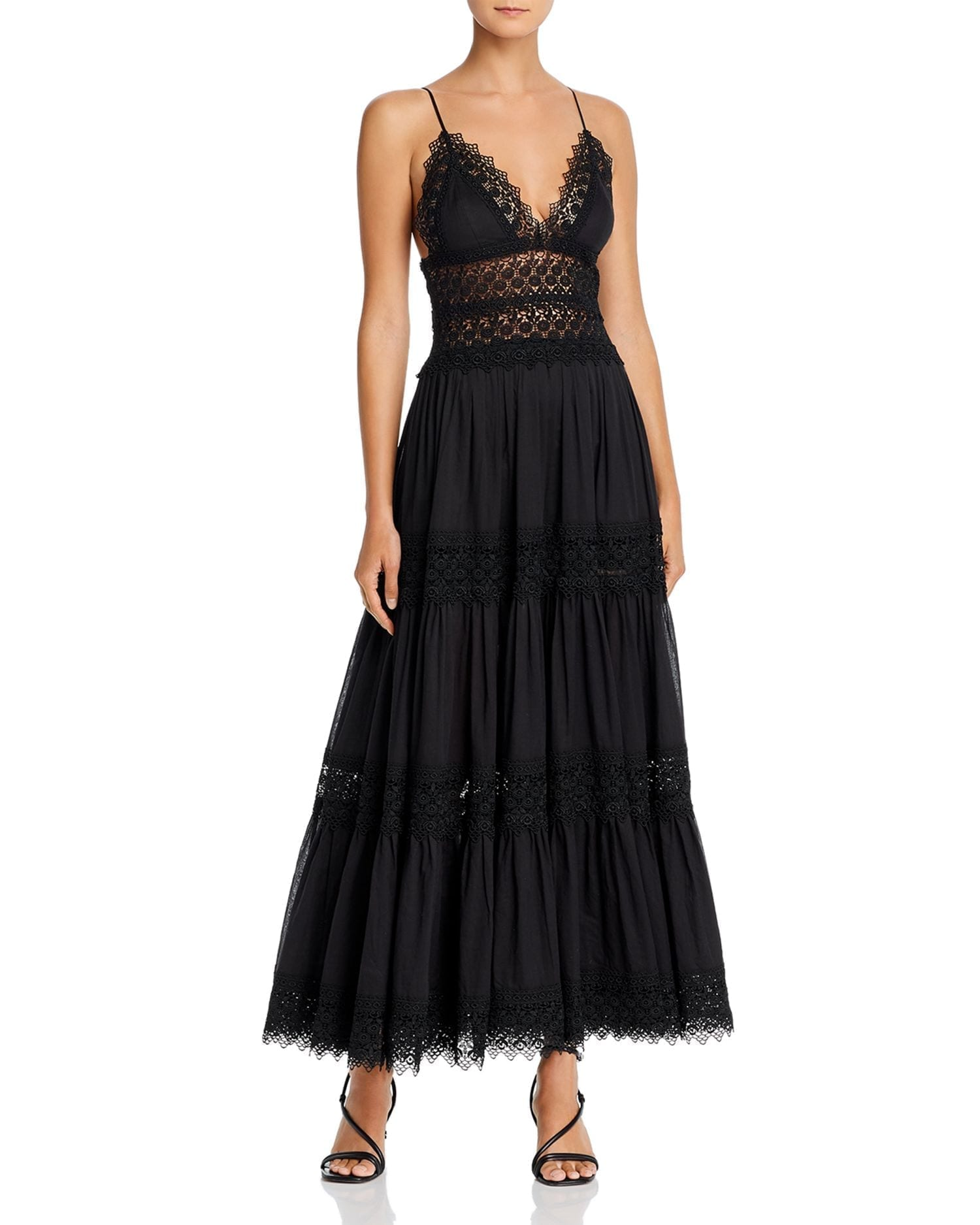 CHARO RUIZ IBIZA Cindy Crochet-Inset Plunging Maxi Dress