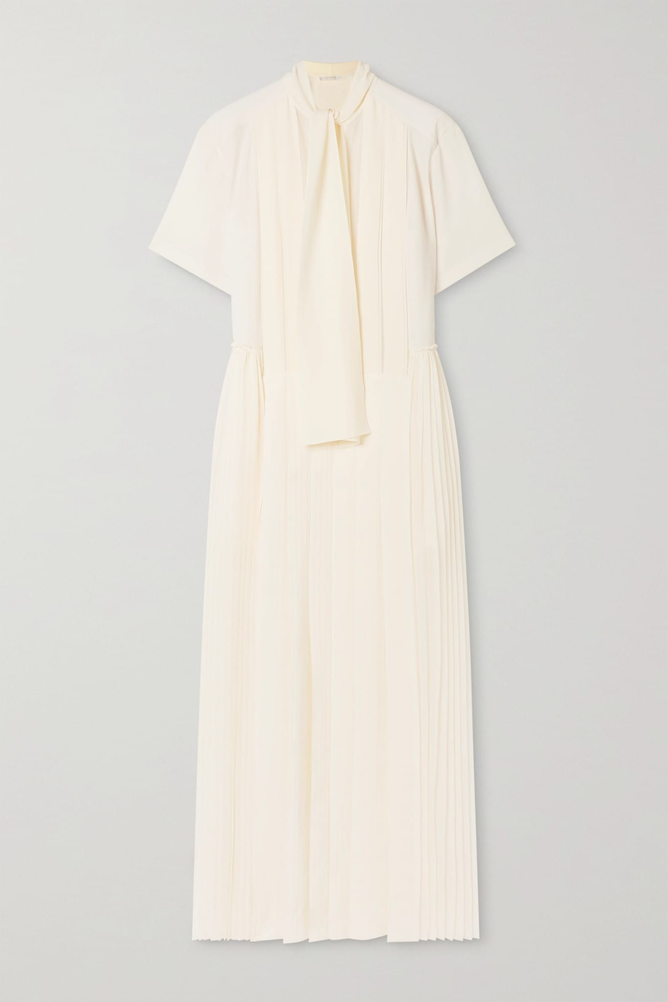 CHLOÉ Pussy-bow Pleated Silk-georgette Maxi Dress