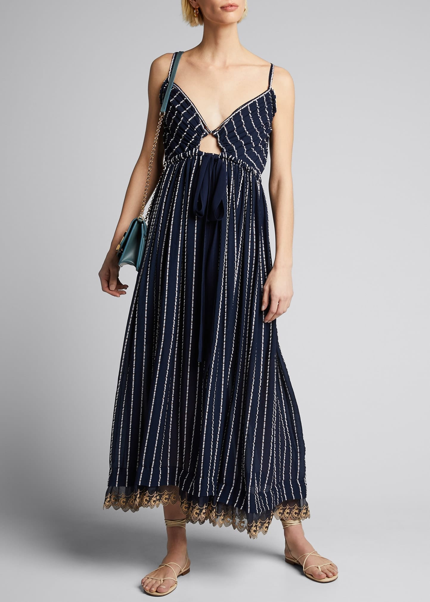 CHLOE Striped Silk-Cotton V-Neck Dress