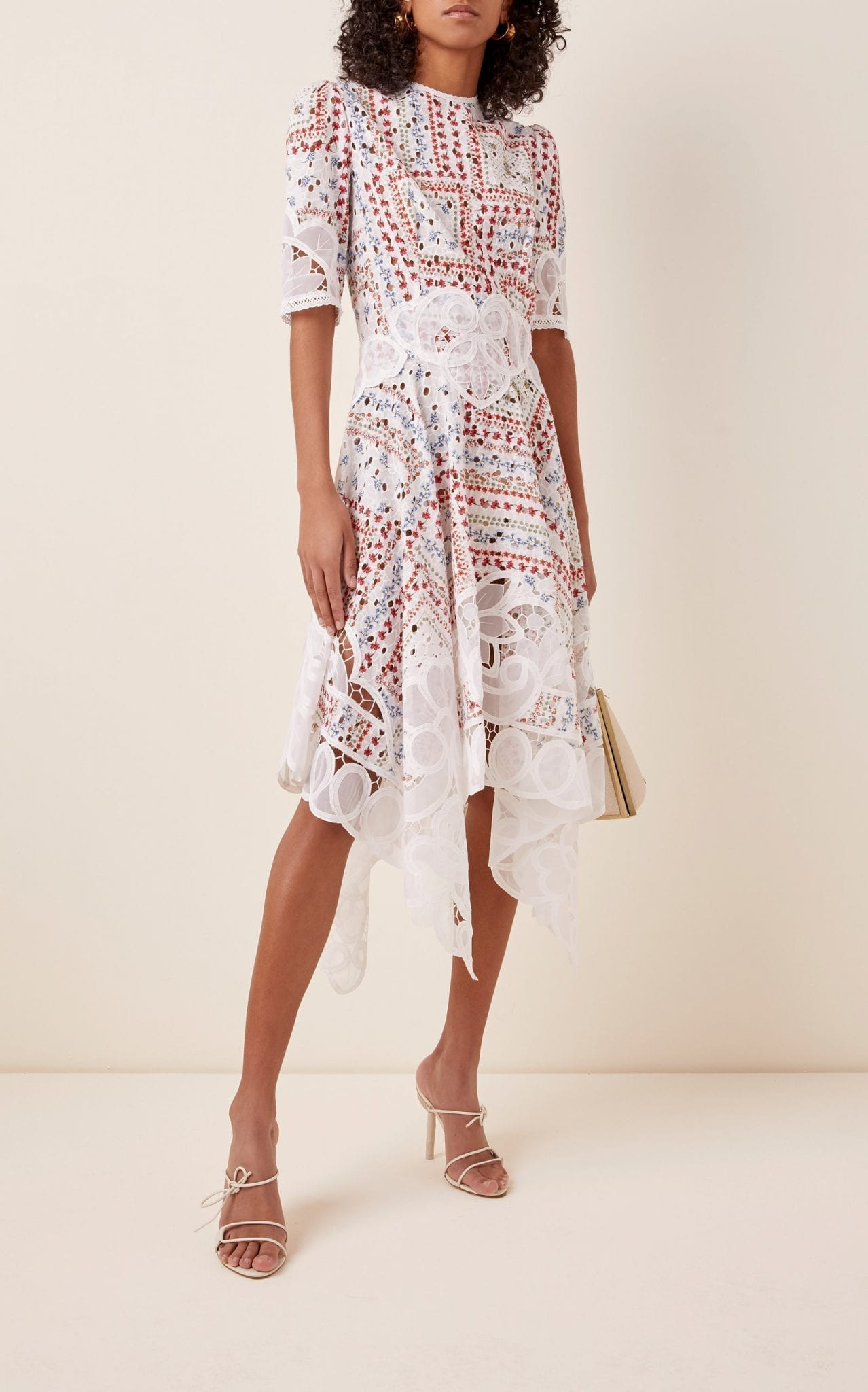 COSTARELLOS Printed Cotton Handkerchief Dress