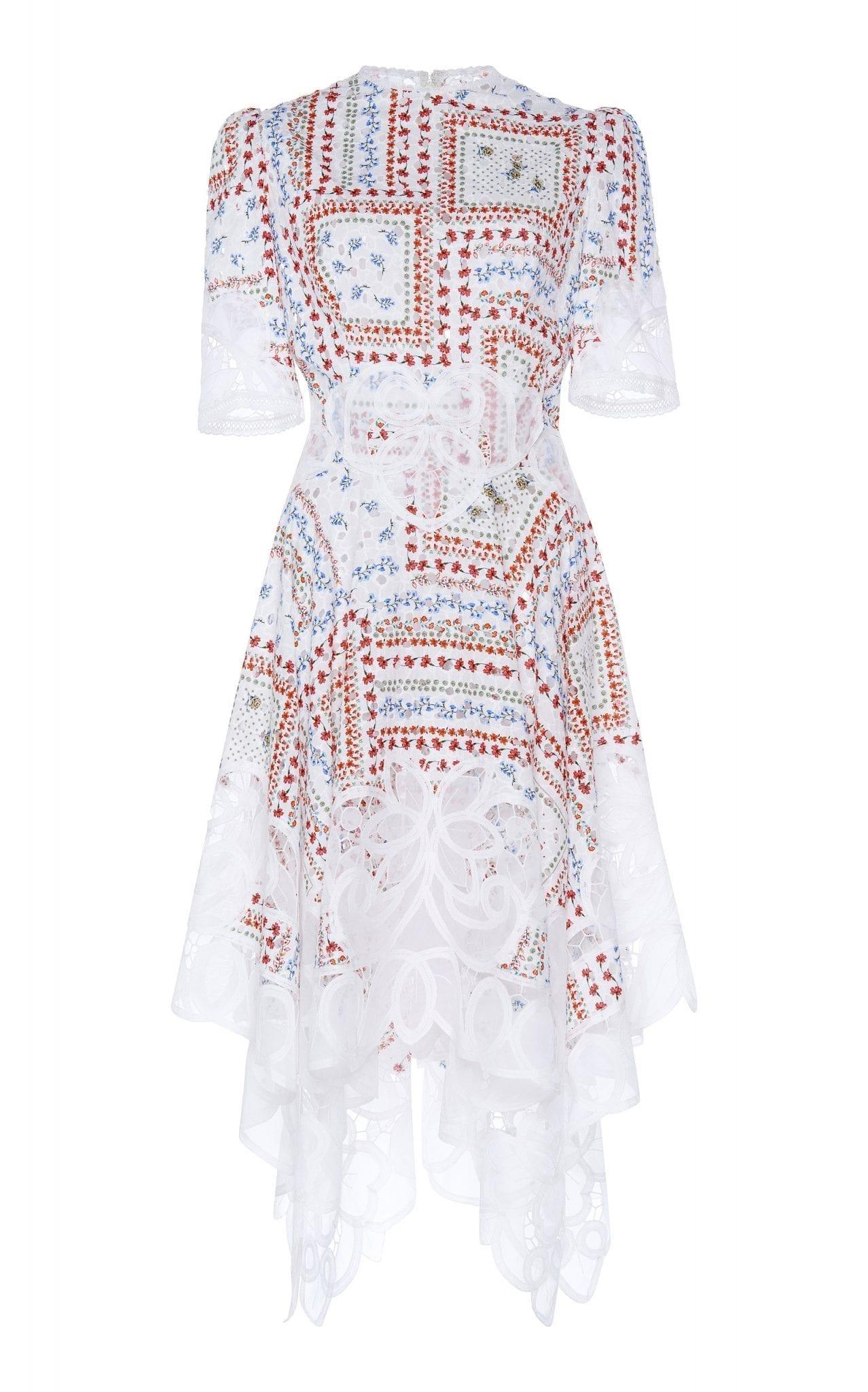 COSTARELLOS Printed Cotton Handkerchief Dress
