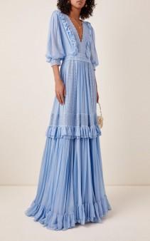 COSTARELLOS Tiered Silk Chiffon Maxi Dress