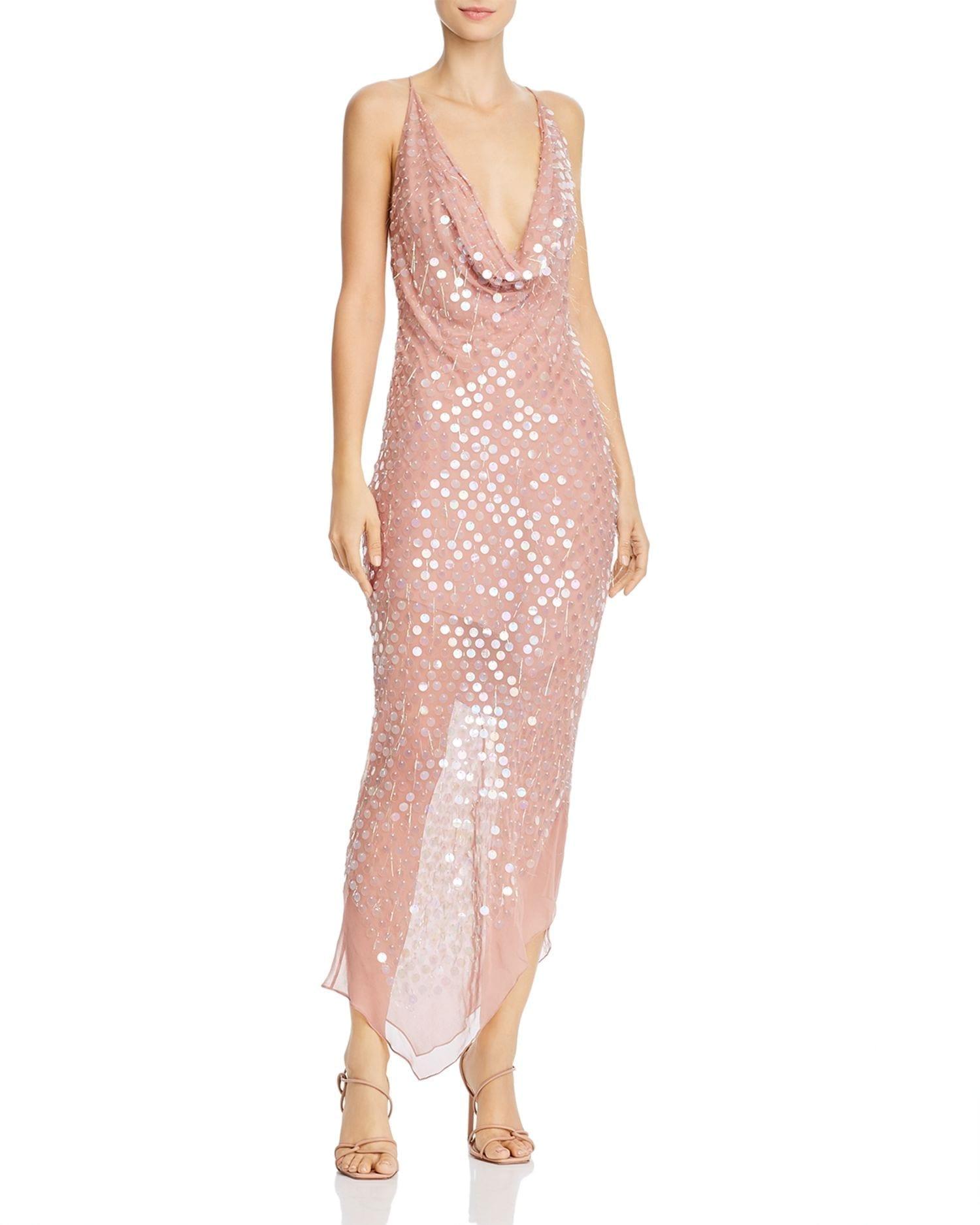 CUSHNIE Asymmetrical Hem Cowl Neck Paillettes Dress
