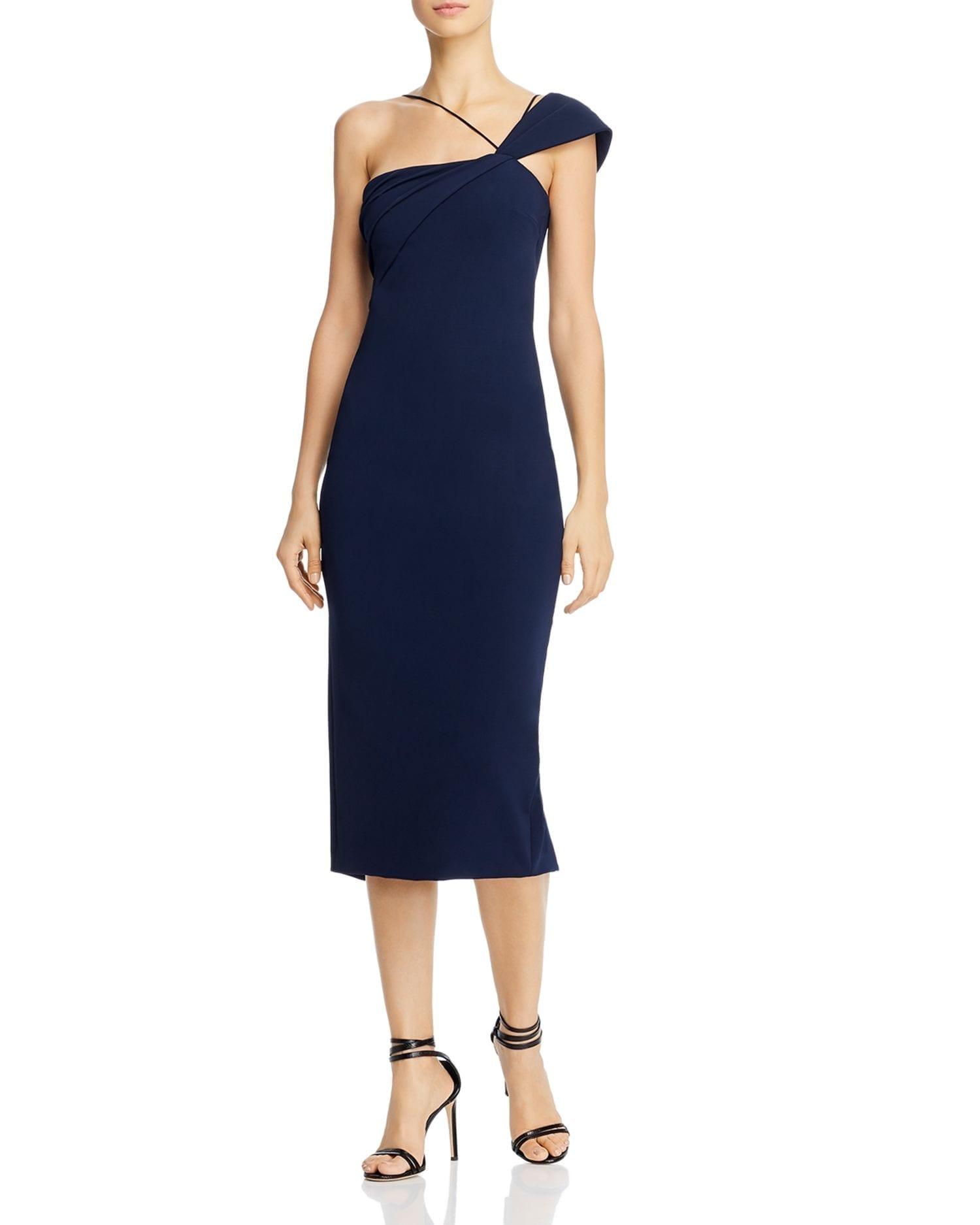 CUSHNIE Asymmetrical-Strap Pencil Dress