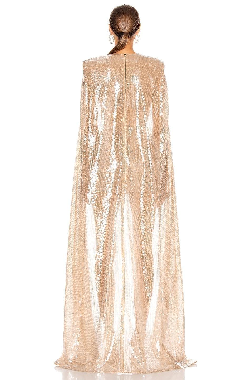 DAVID KOMA Sequin Long Cape Mini Dress