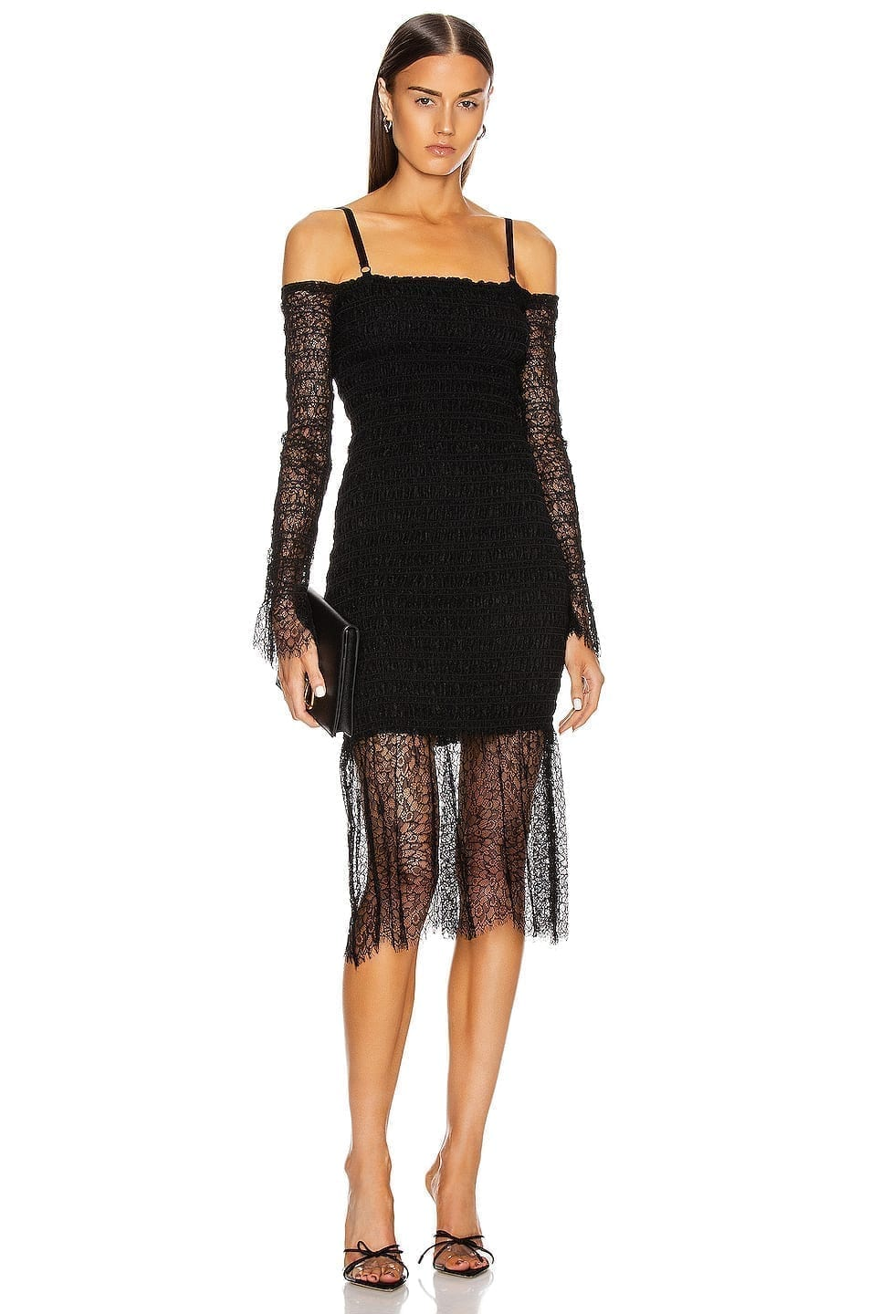 DION LEE Shirred Elapid Lace Dress