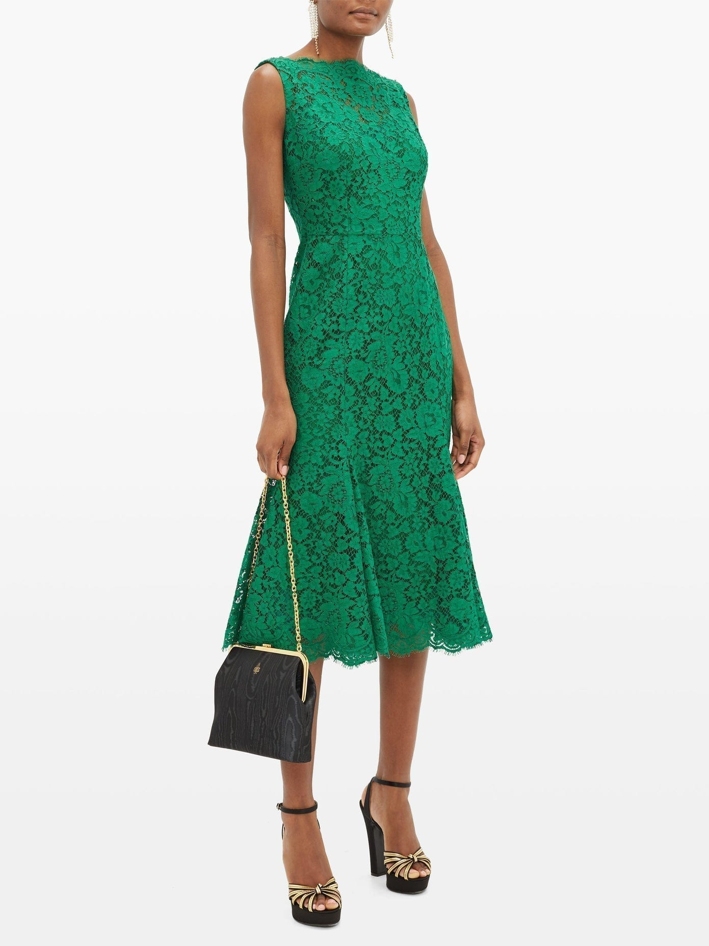 DOLCE & GABBANA Flared Guipure-lace Dress